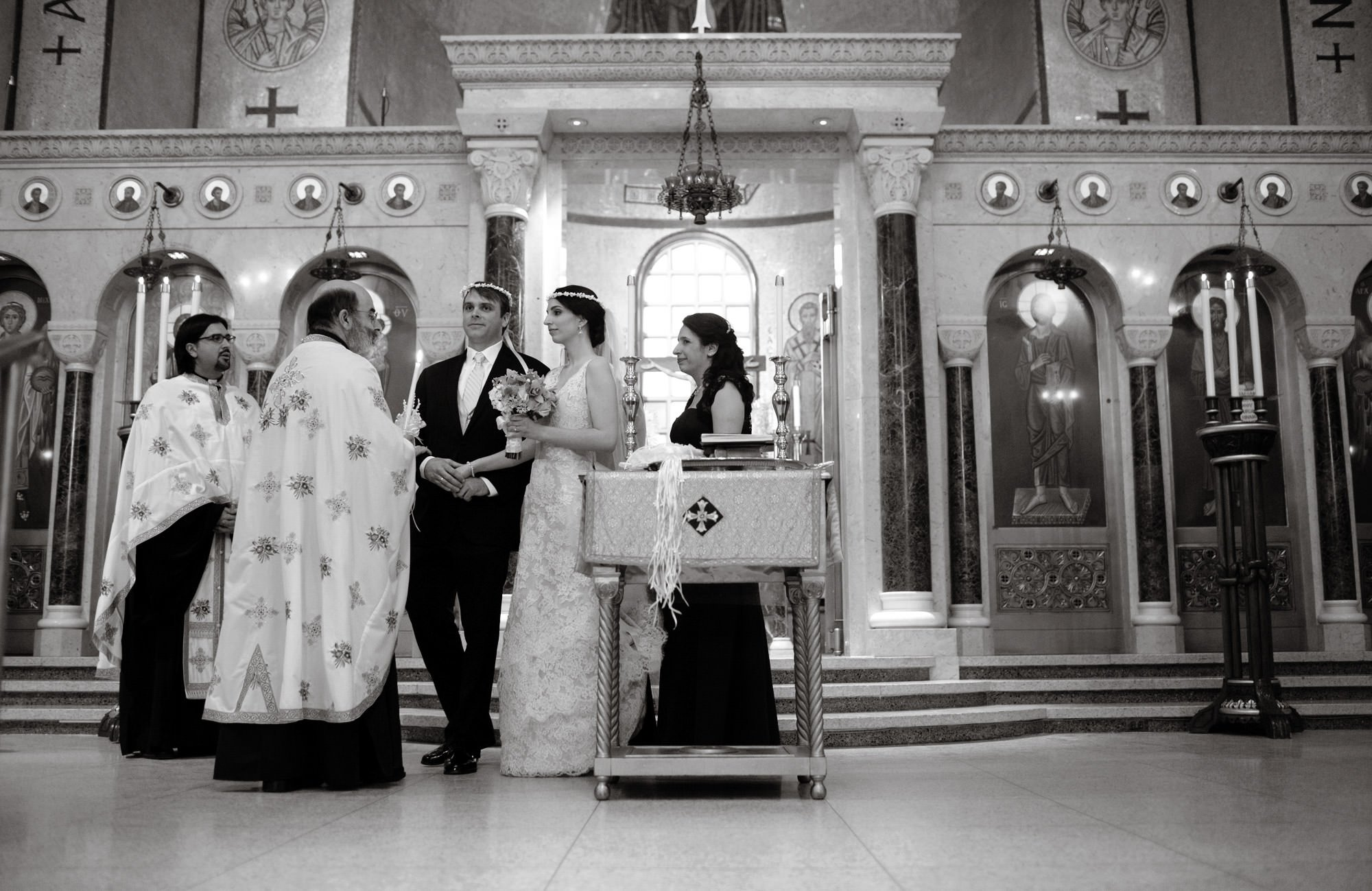 St. Sophia Greek Orthodox Cathedral Wedding  I  The couple participate in the wedding ceremony in Washington, DC.