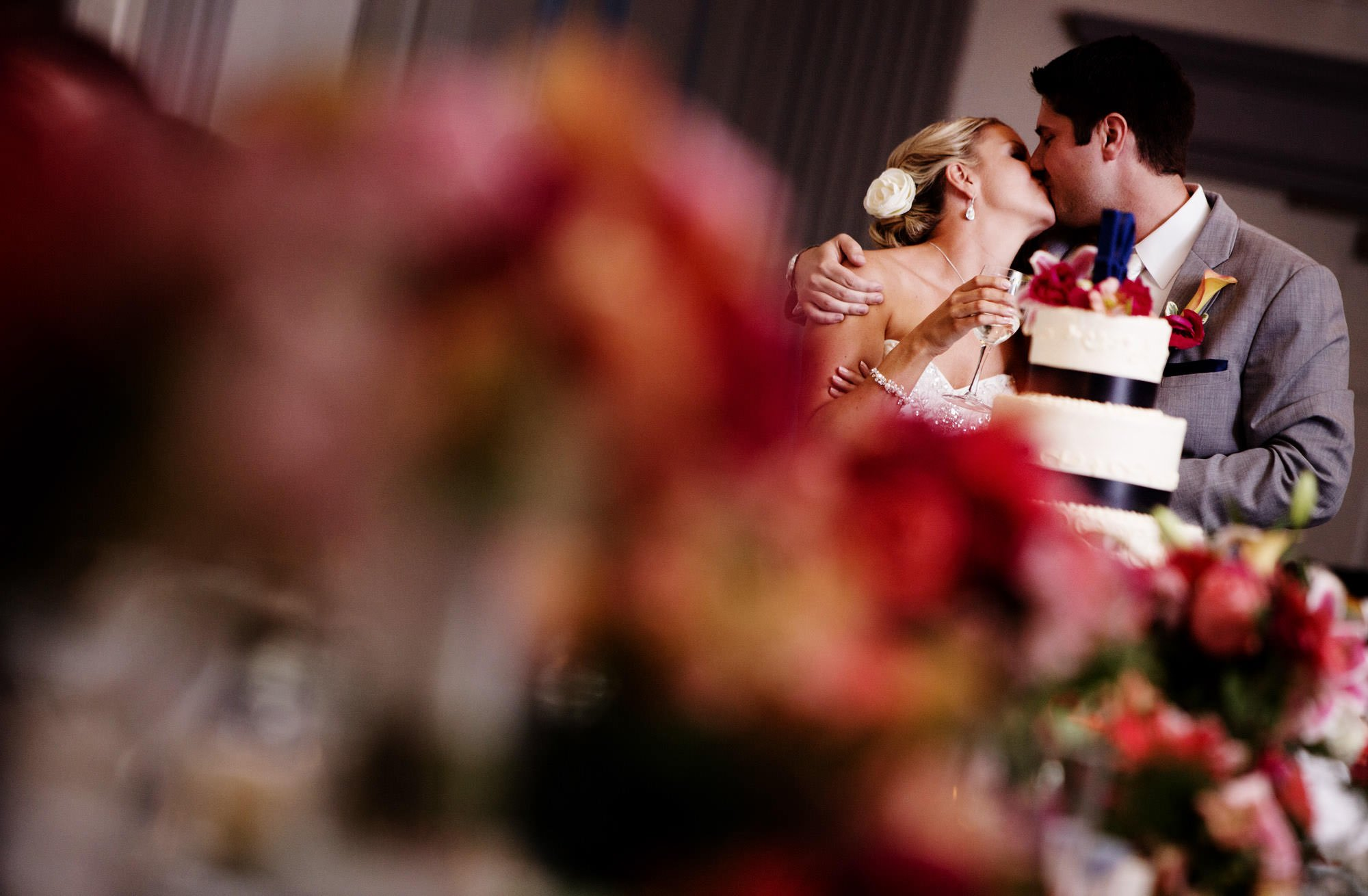 The bride and groom cut the cake during the wedding reception at their Nittany Lion Inn wedding.