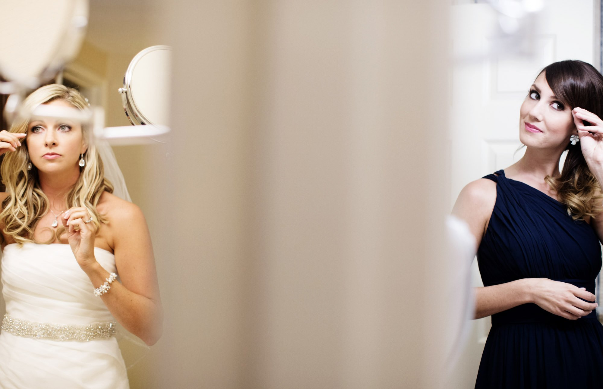 The bride gets ready with her bridesmaids.