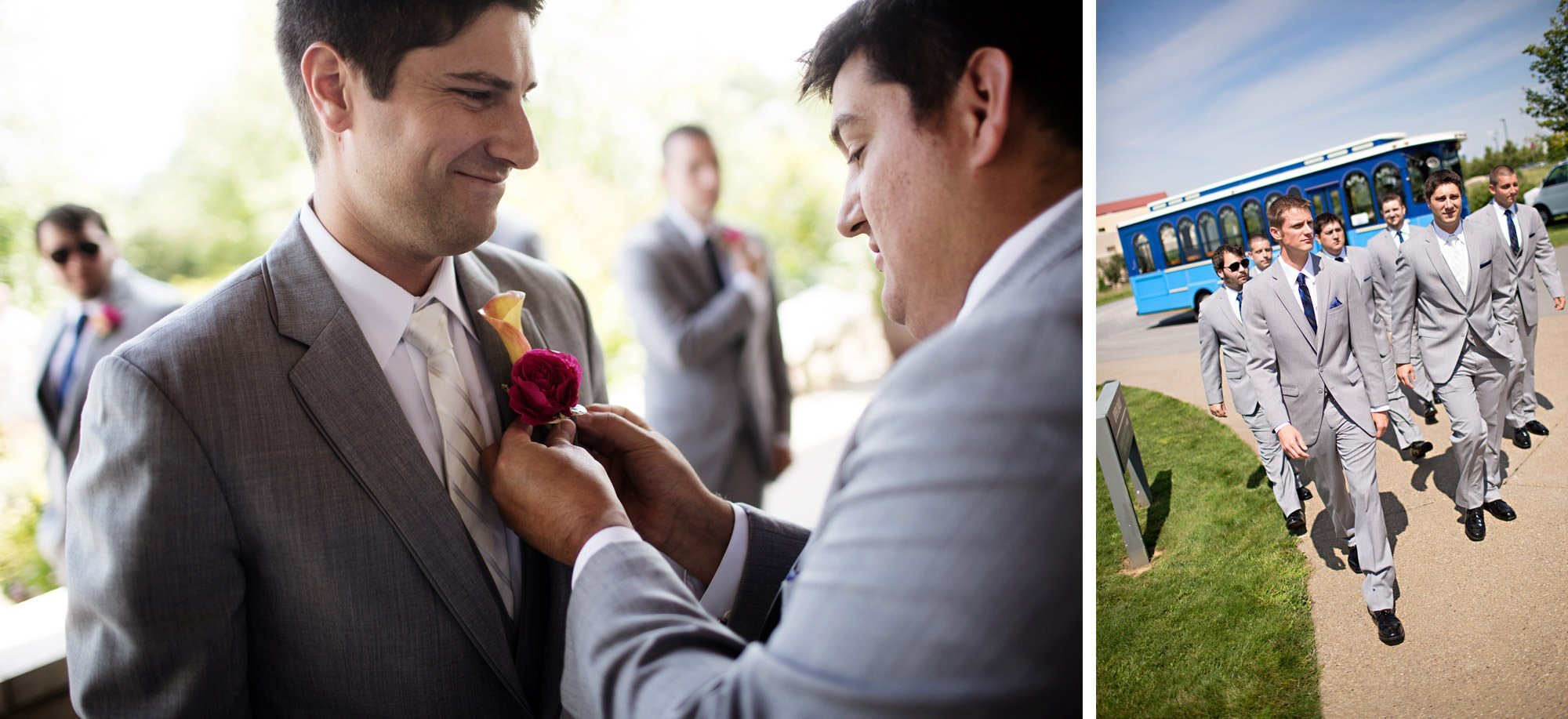 The groom puts on his boutonniere.