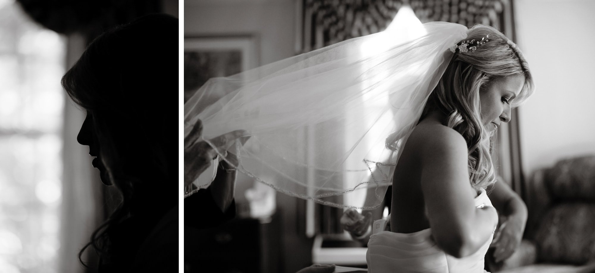 The bride puts on her wedding dress before the ceremony of her Nittany Lion Inn wedding.