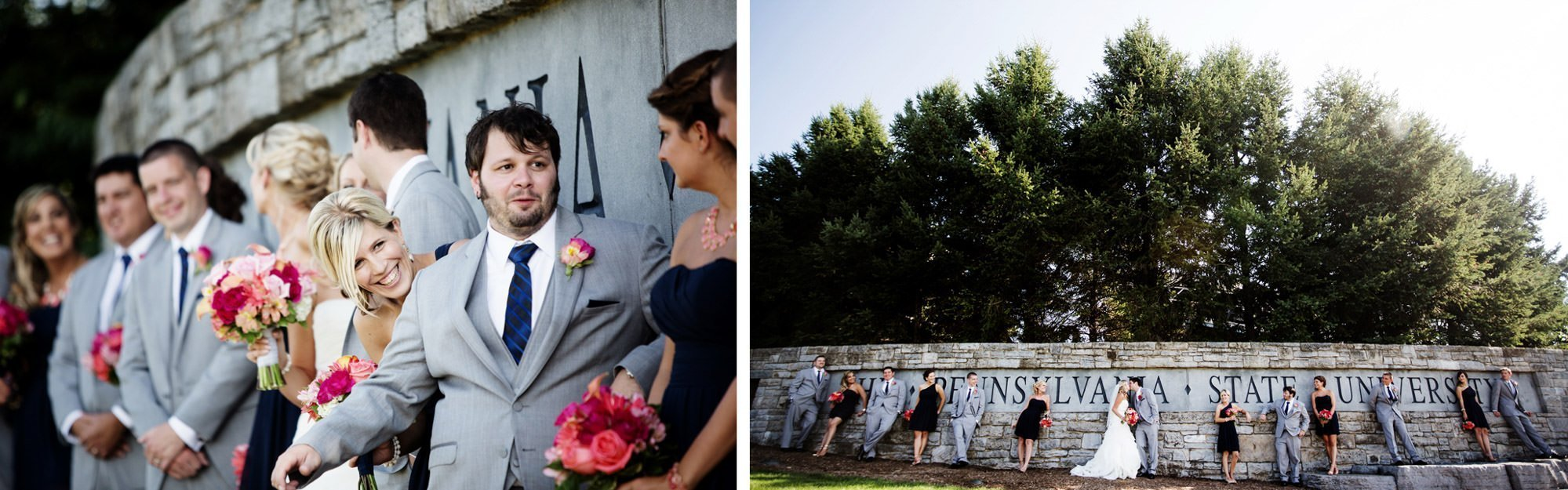 The wedding party poses for portraits at the entrance of Penn State University on the wedding day.