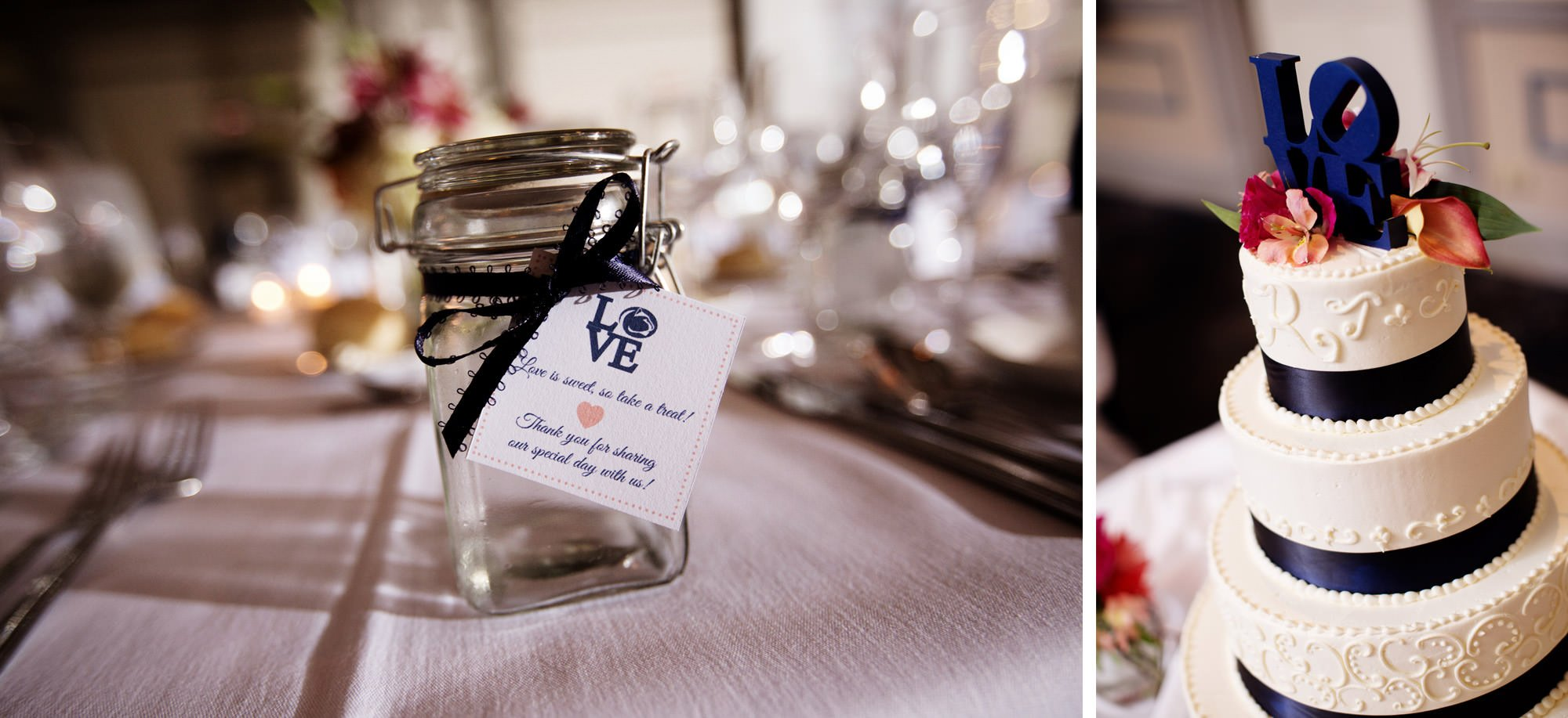 Details of the cake and gifts at this Nittany Lion Inn wedding.