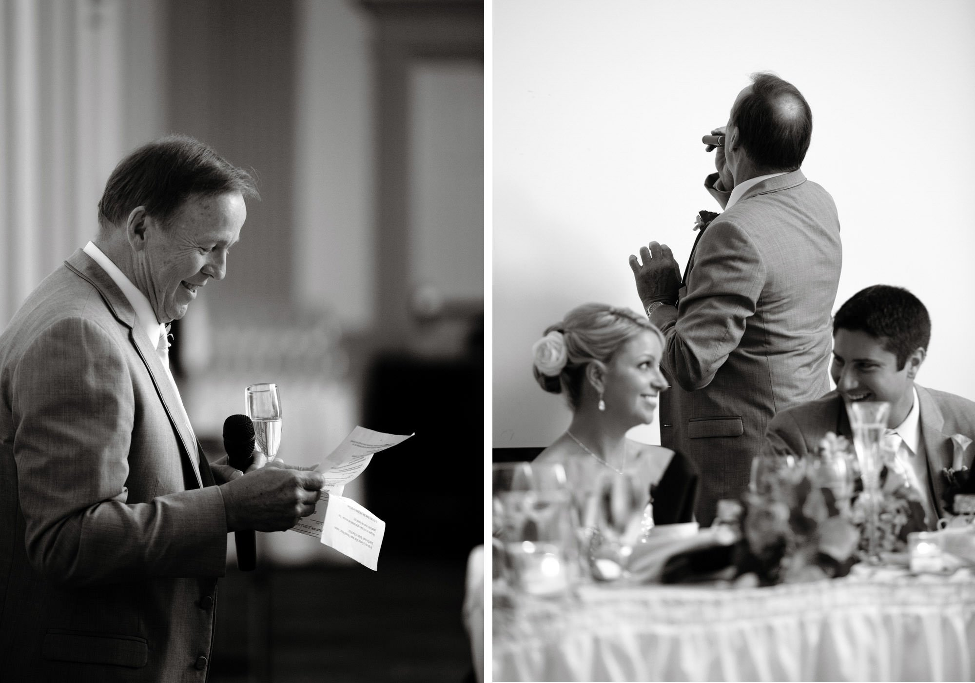 The father of the bride gives a toast during the wedding reception.