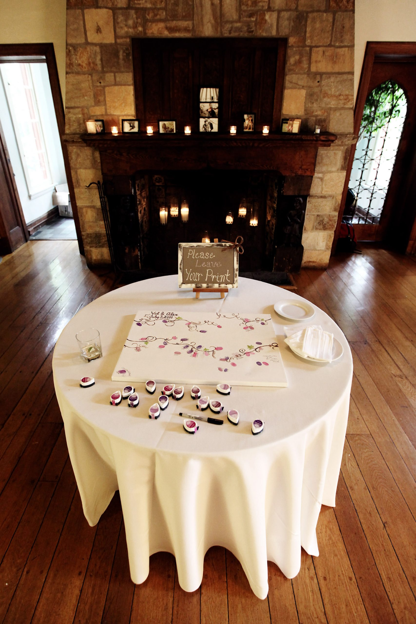 Cloisters Castle Wedding  I  Guests leave their finger prints for the guest book on the wedding day.