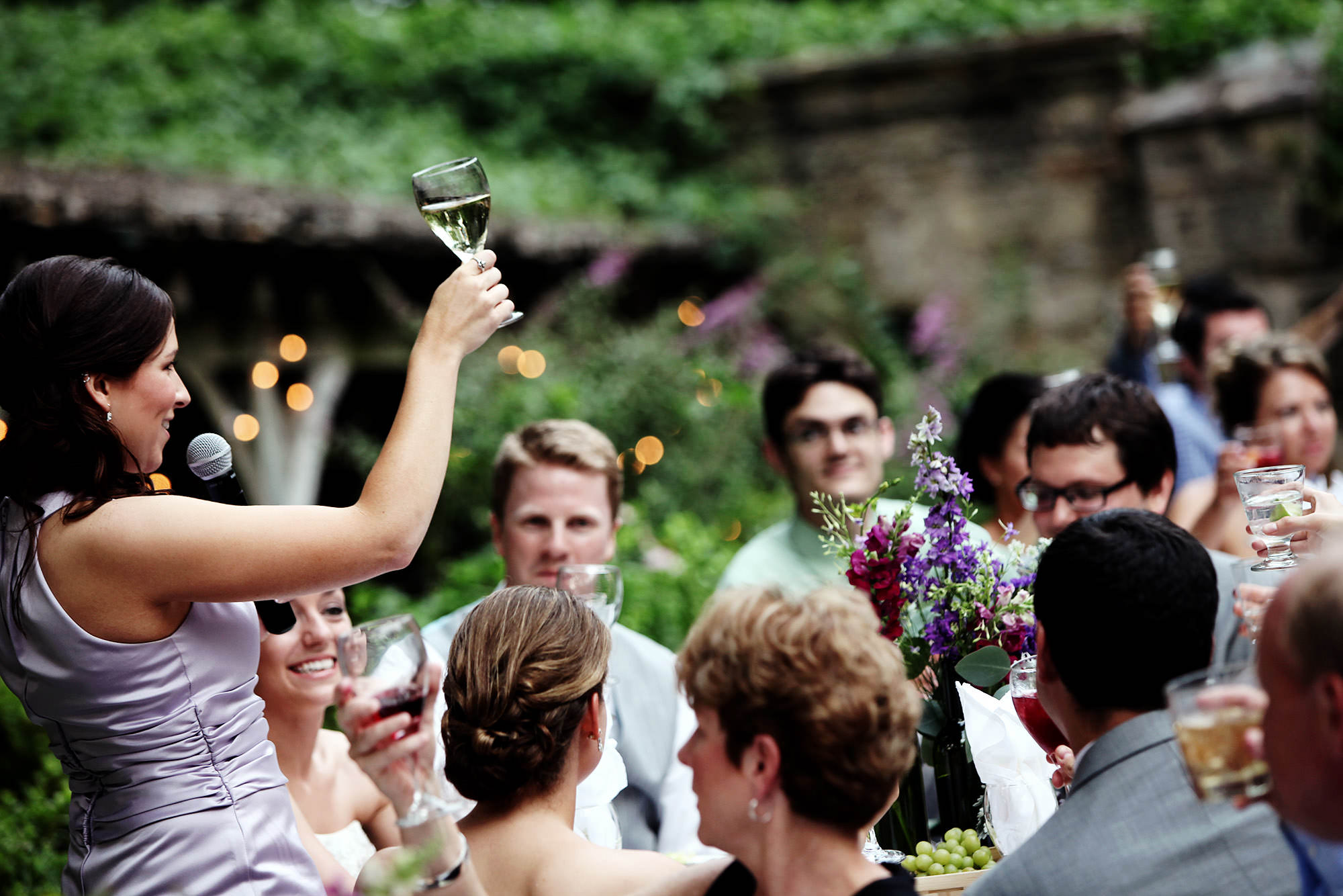 Cloisters Castle Wedding  I  Toasts are given during the wedding reception.