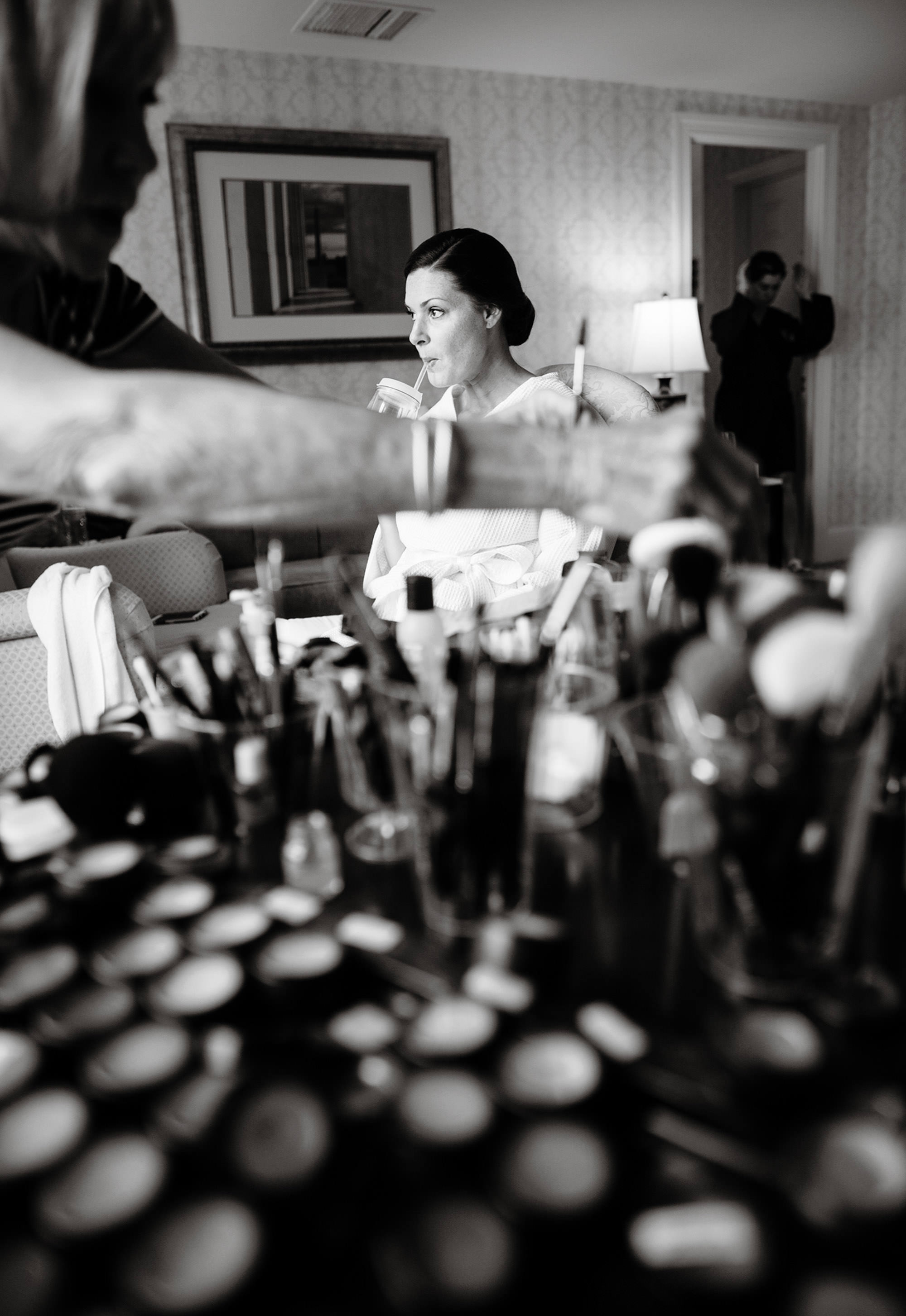 The bride gets ready in her hotel in Washington, DC
