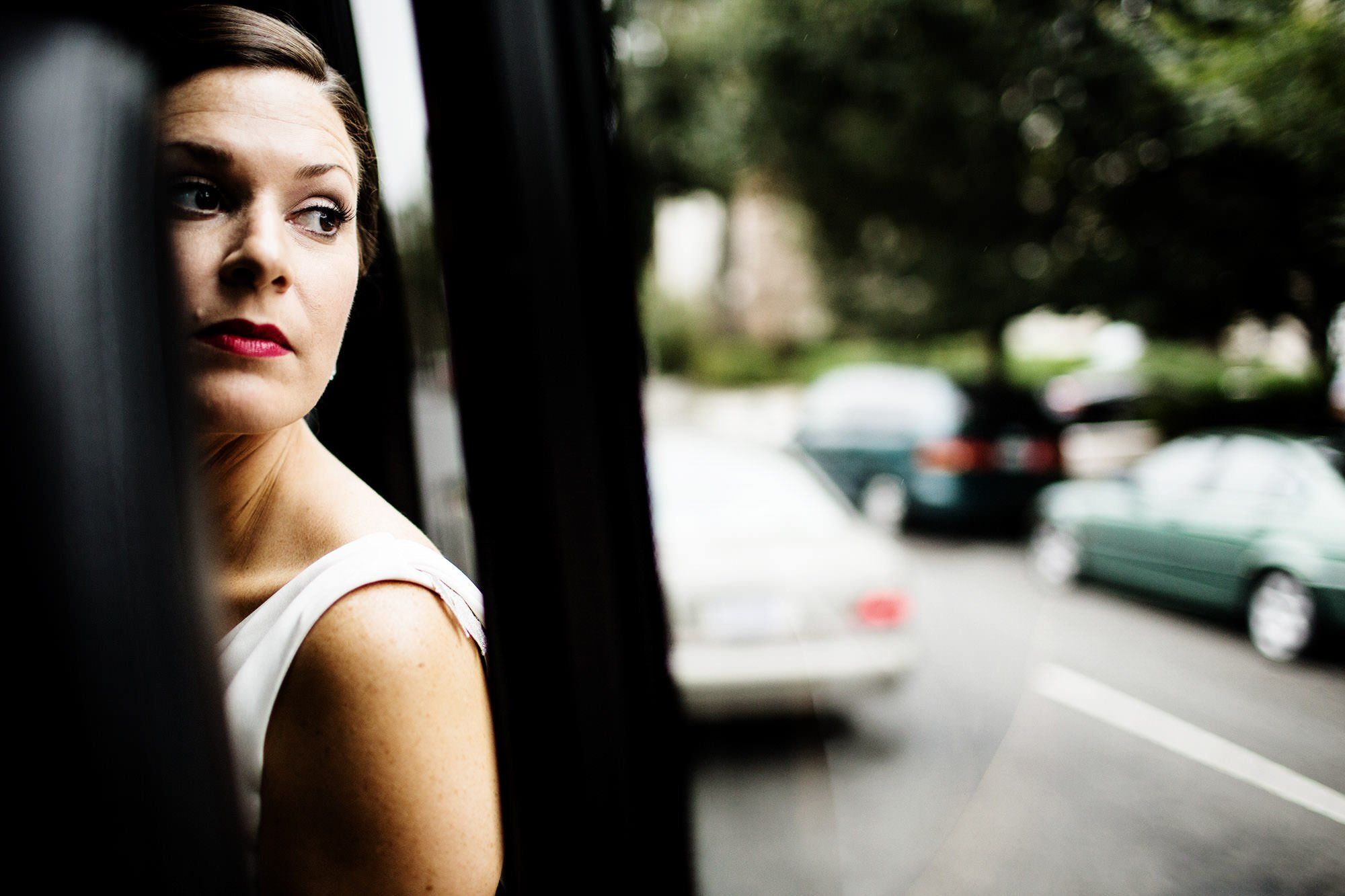 The Bride takes a Shuttle to her wedding ceremony.