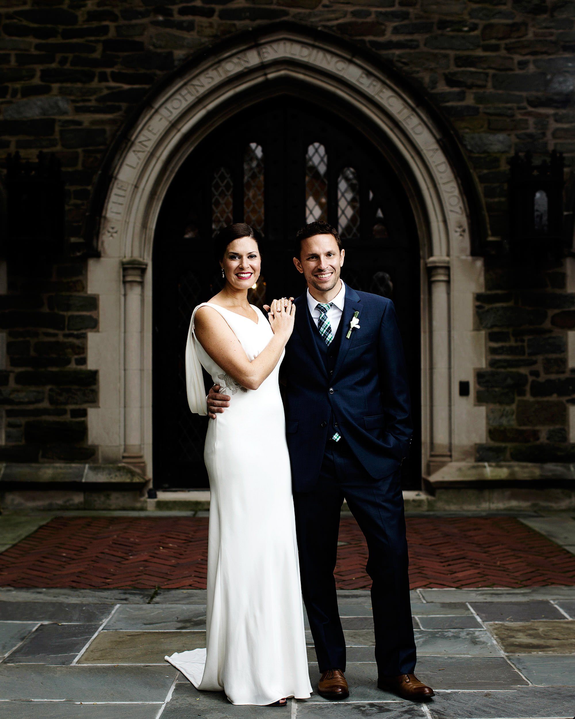 A portrait of the Bride and Groom at St. Alban's Church.