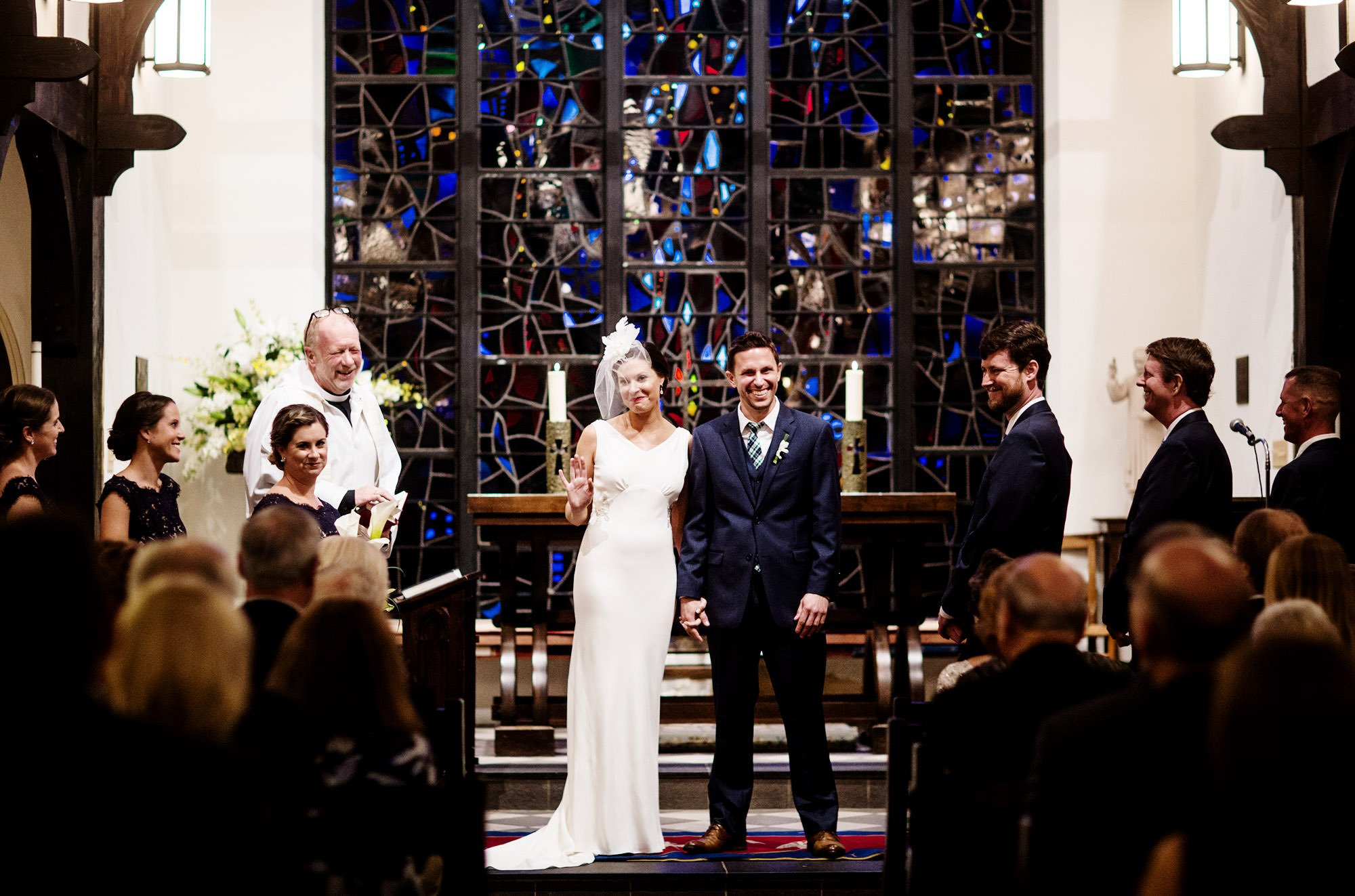 The Bride and Groom During their Ceremony at St. Alban's Church.