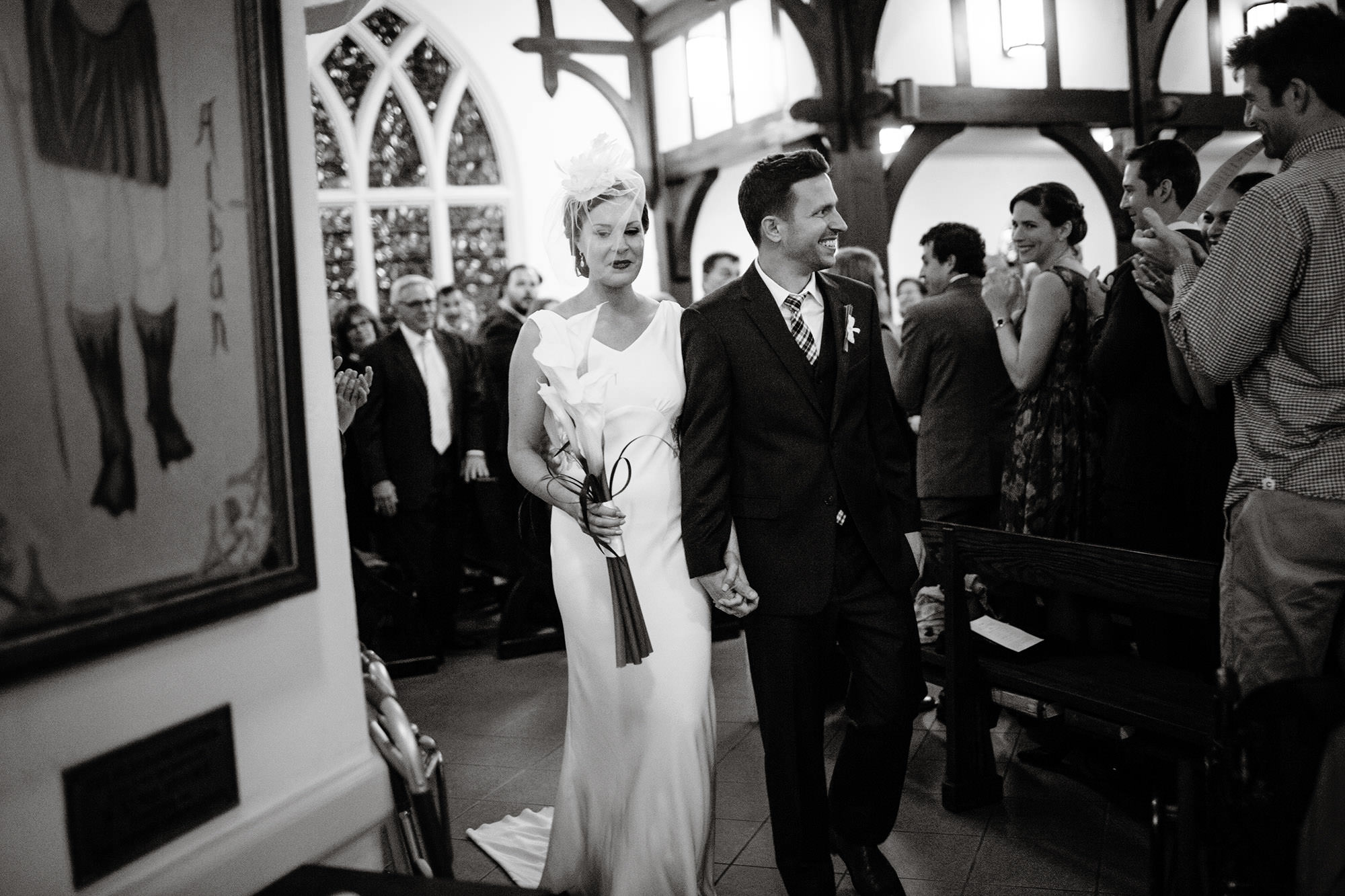 The Bride and Groom Recessional at St. Alban's Church following their ceremony.
