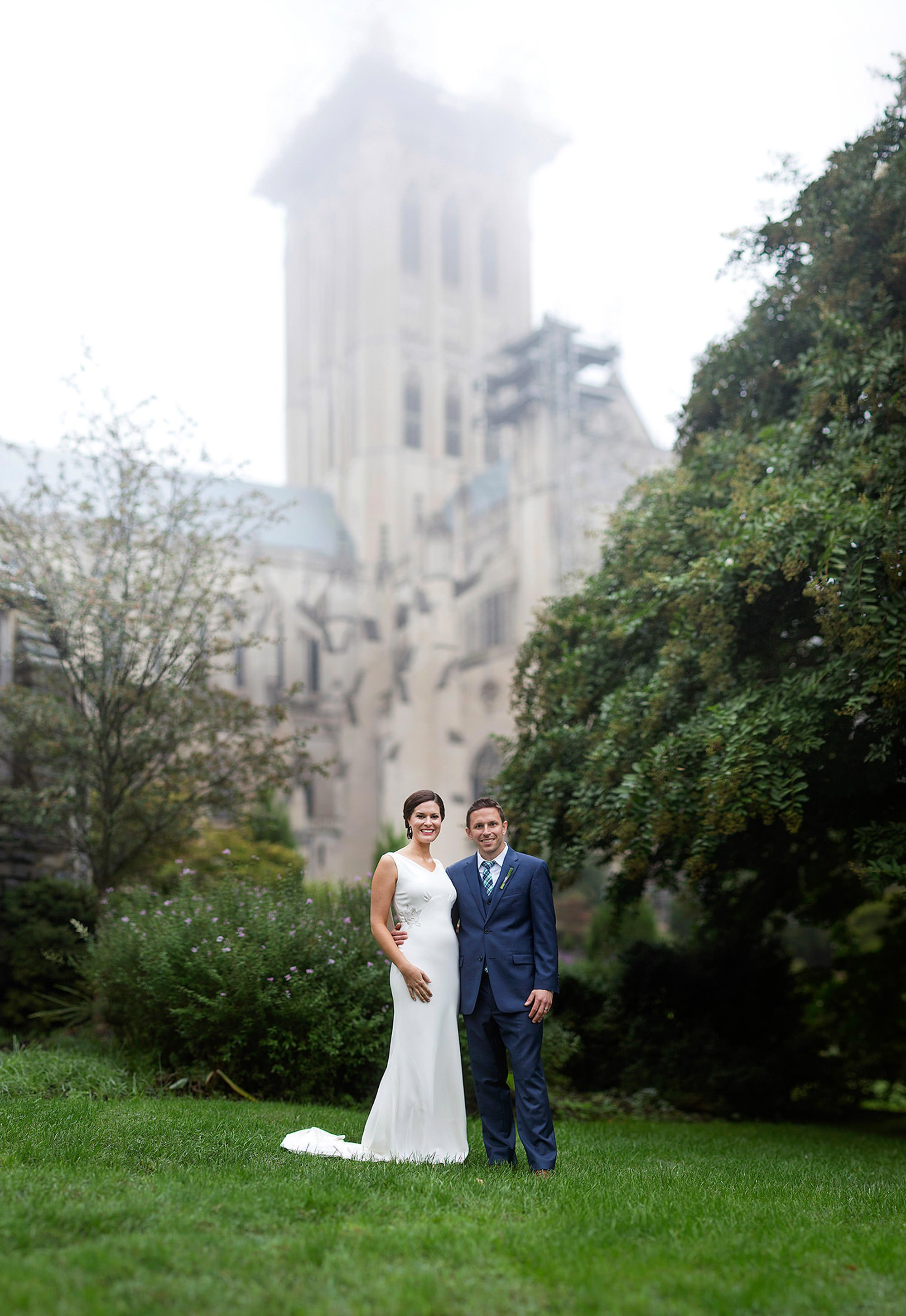 Cosmos Club Wedding in Washington, DC  I  Bride and Groom Portrait at the National Cathedral