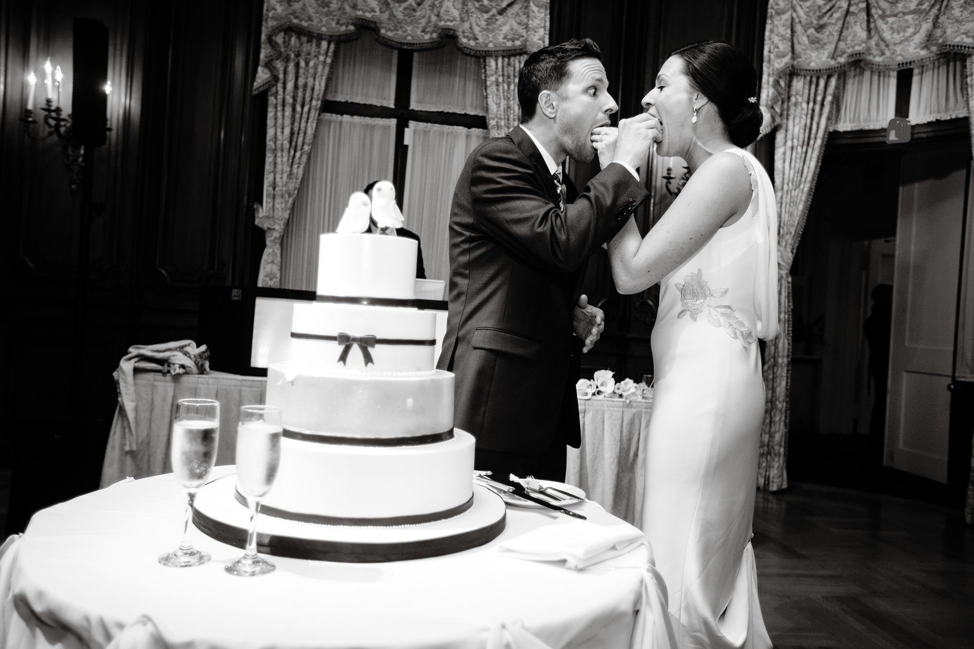The Bride and Groom cut their Cake during the wedding reception.