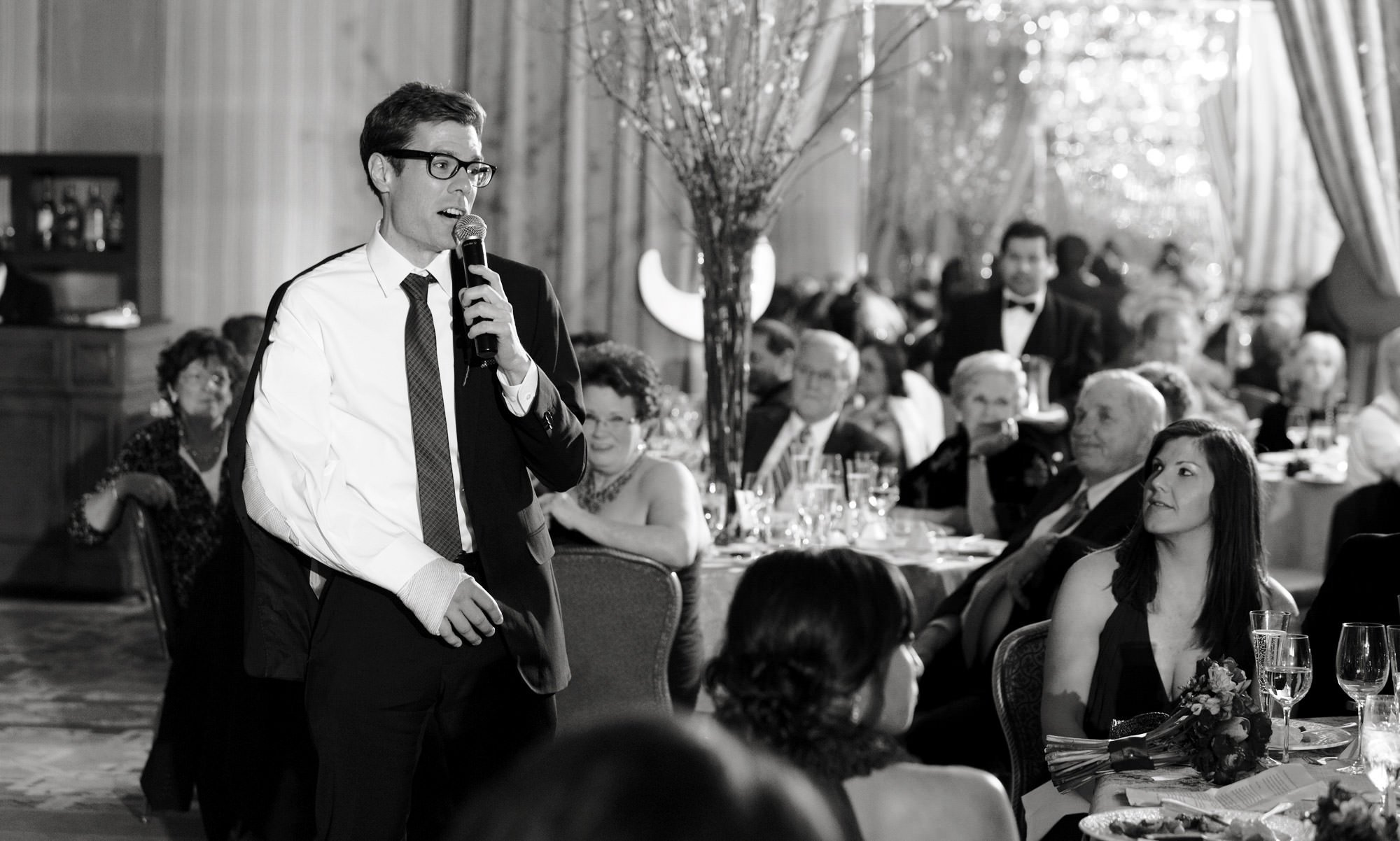 Four Seasons DC Wedding  I  The best man gives a toast during the reception.