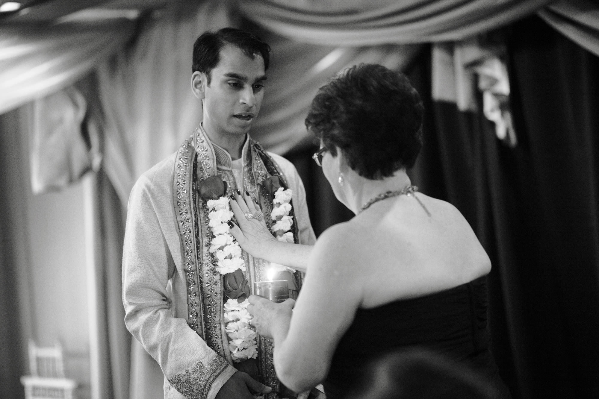 Four Seasons DC Wedding  I  The groom is blessed during the hindu ceremony in Washington, DC.