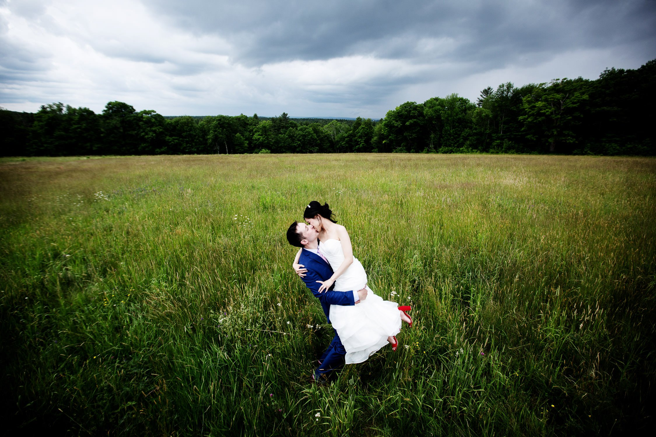 Massachusetts Wedding Photographers I Bride and Groom Portrait at Harrington Farm Wedding in Princeton, MA