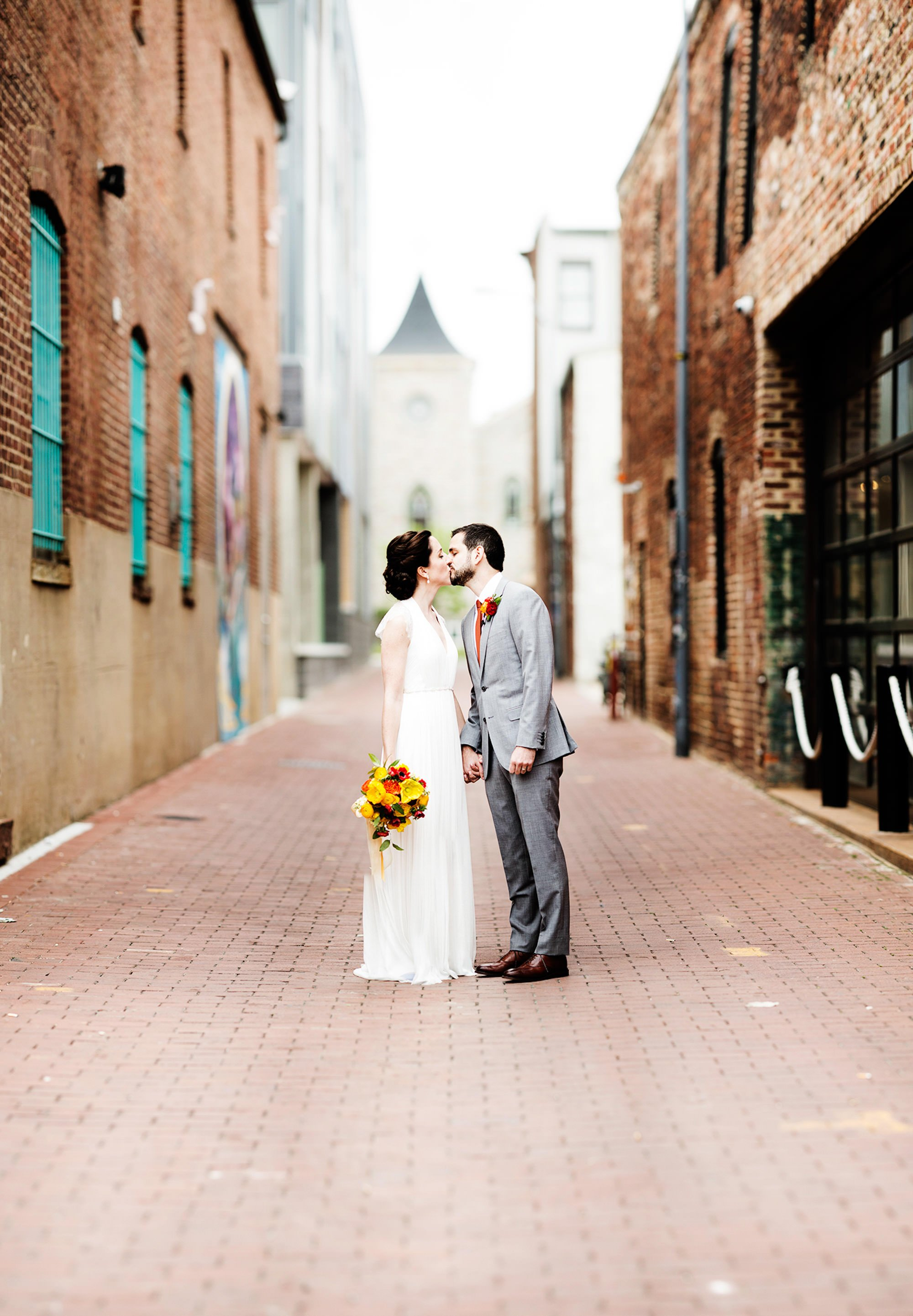 A Bride and Groom Portrait in an alley in Washington, DC