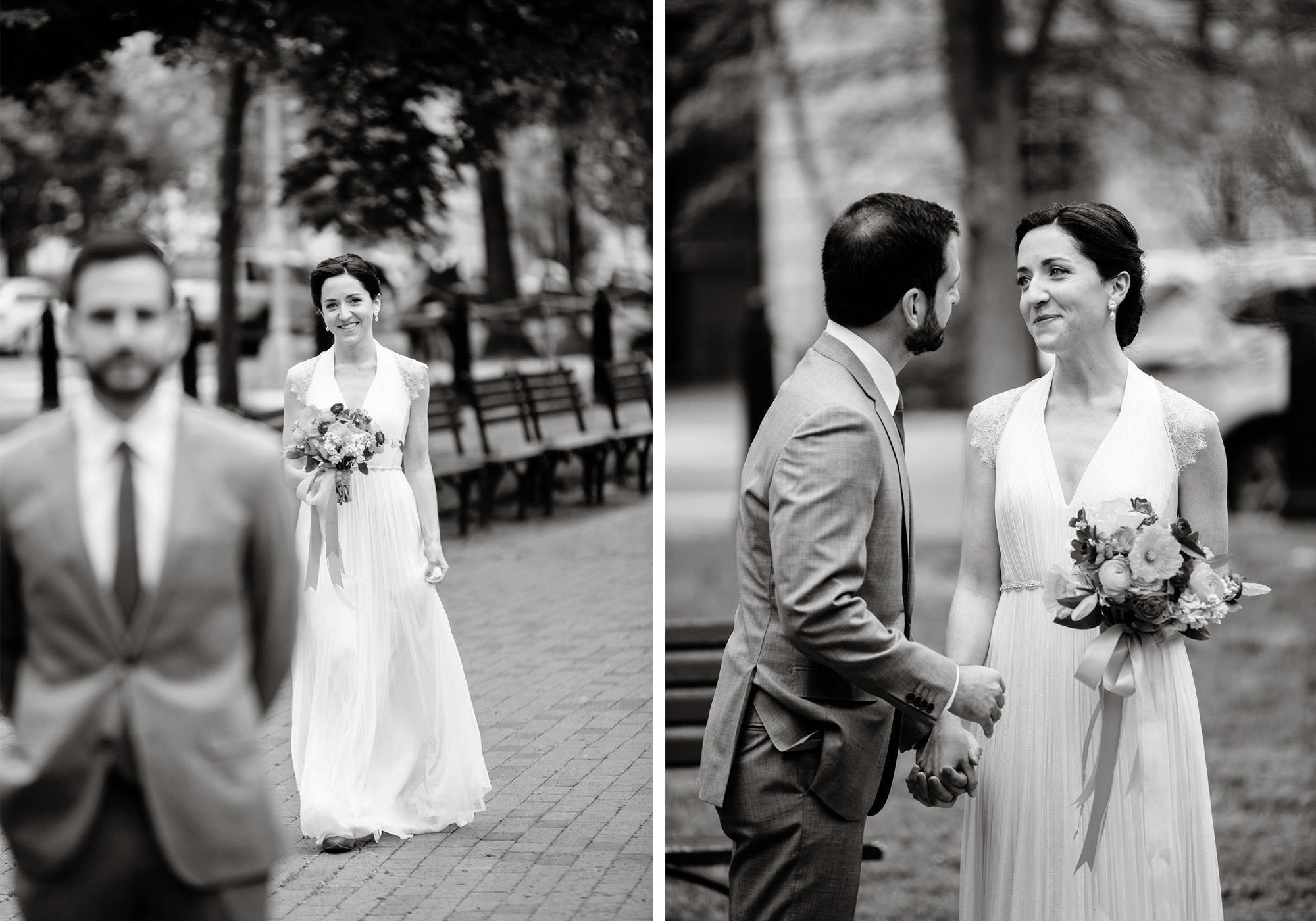 The bride and groom share their First Look in Lafayette Park in Washington, DC
