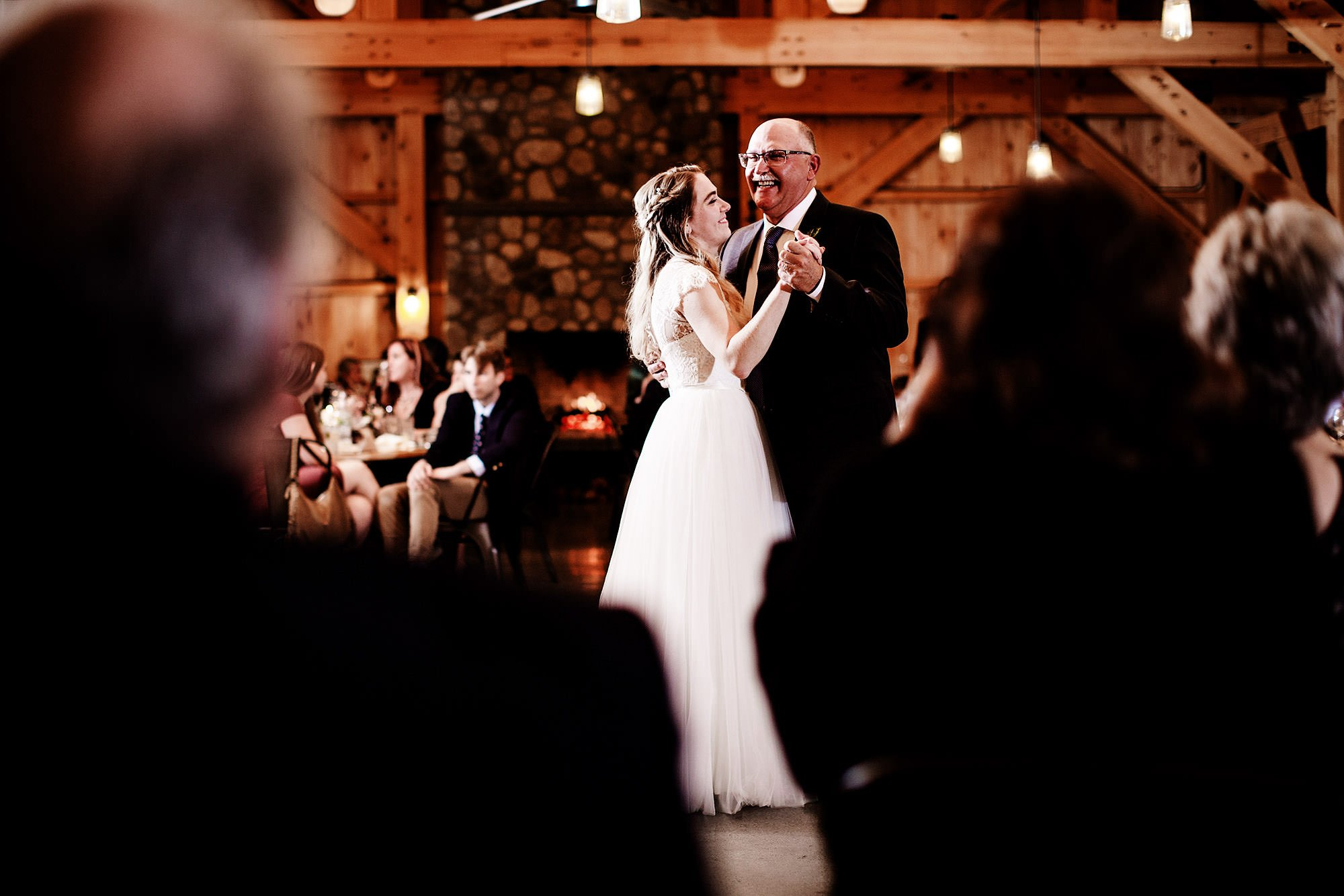 The bride dances with her father during the wedding reception at Mad River Barn.