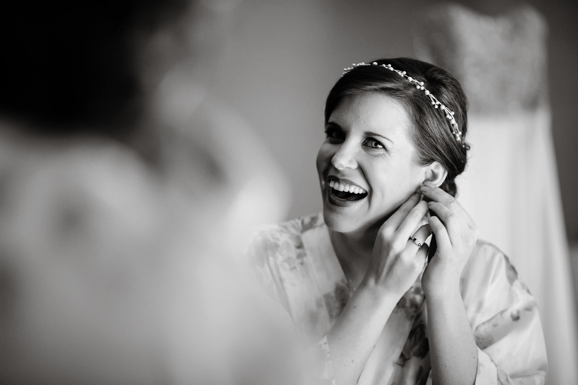 The Bride gets ready prior to her wedding ceremony.