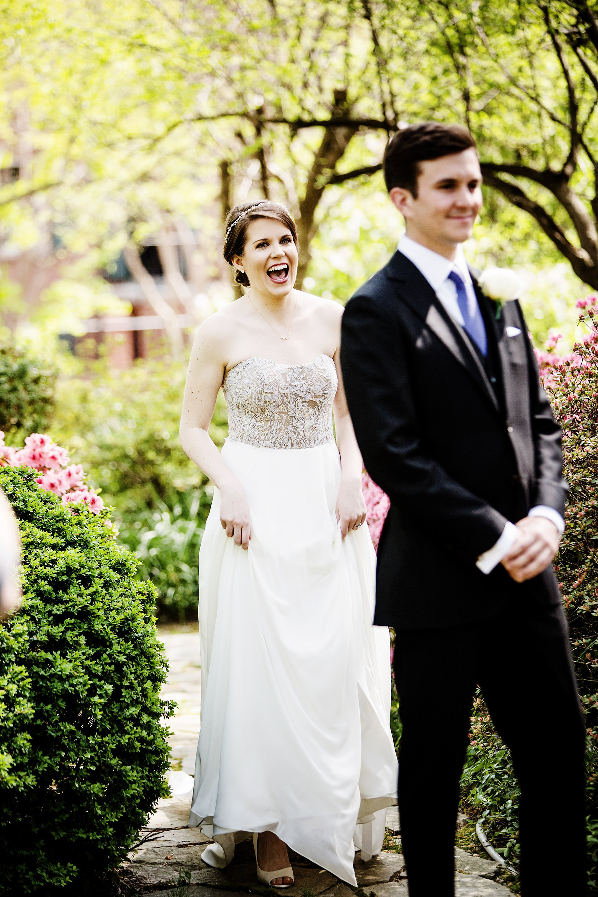 The bride and groom share their first look at Meridian House in Washington, DC