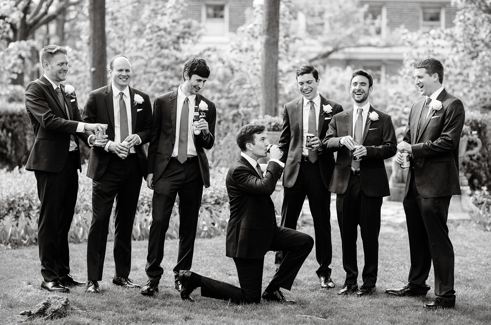 A portrait of the groomsmen at Meridian House.