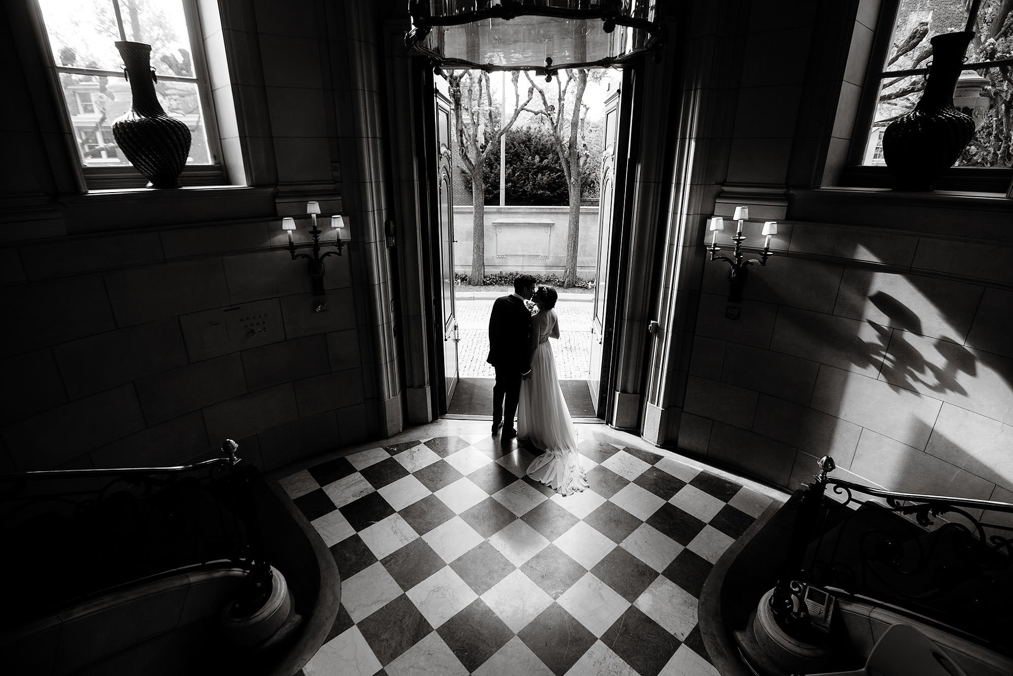 A portrait of the bride and groom at Meridian House.