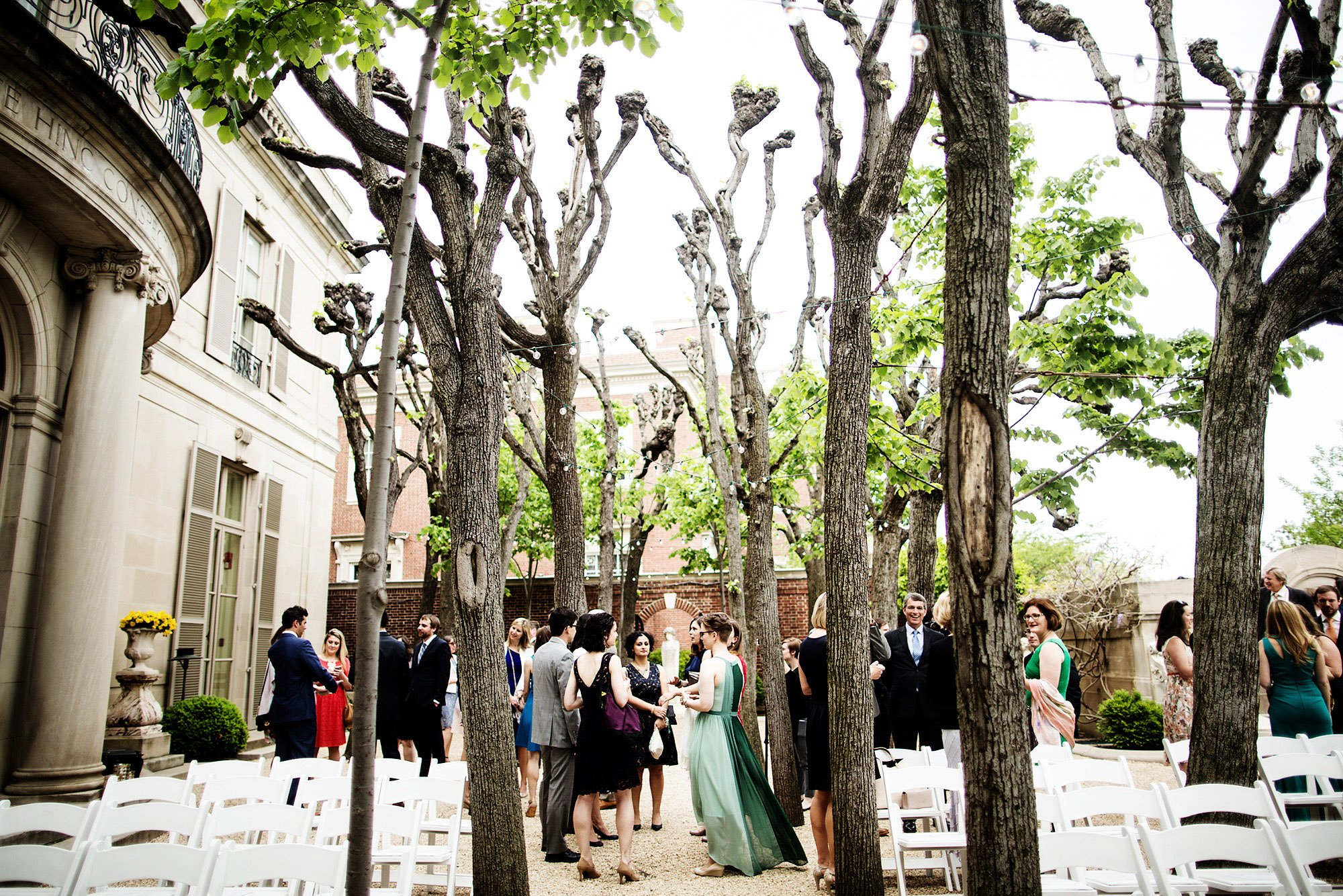 Guests enjoy cocktail hour during this Meridian House wedding in Washington, DC