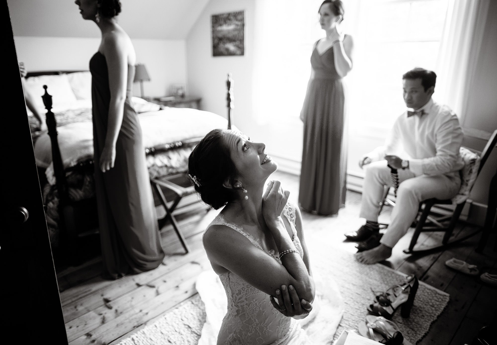 The bride gets ready in her home.