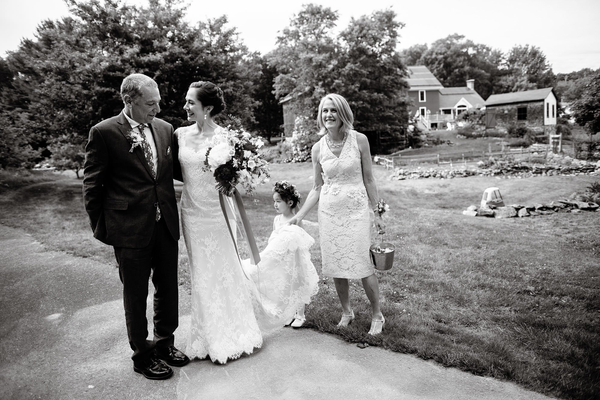 The bride and her parents prior to their wedding ceremony.