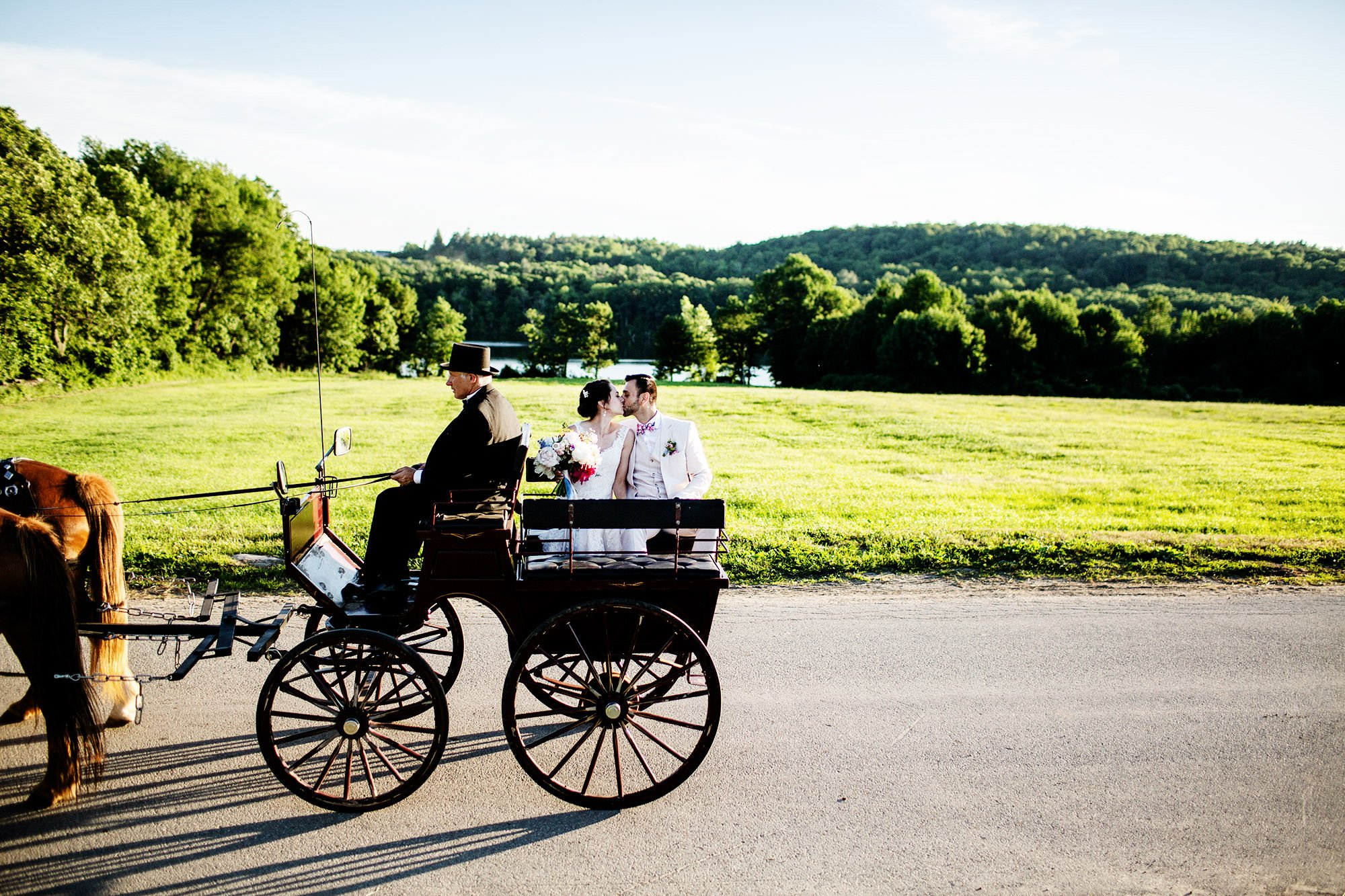Bride and Groom Carriage Ride at Mesa Farm in Rutland, MA
