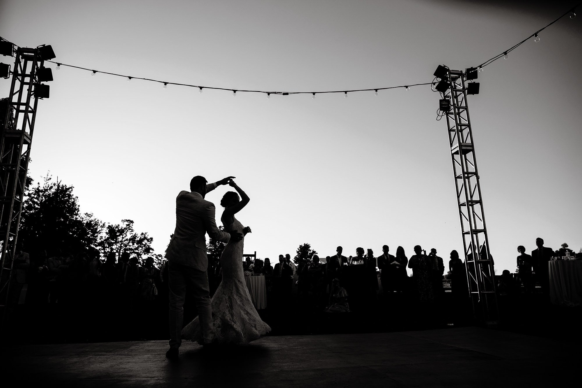 Bride and Groom share a First Dance during their Mesa Farm Wedding.