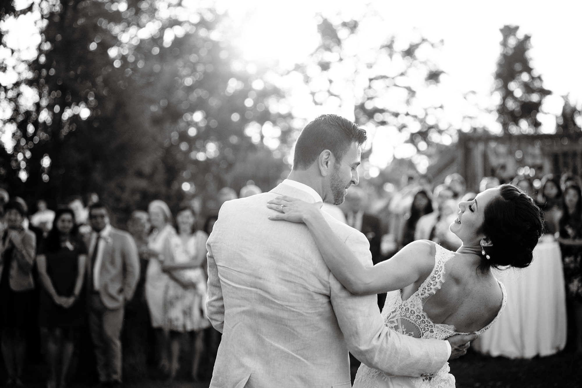 Bride and Groom share a First Dance during their Mesa Farm Wedding.