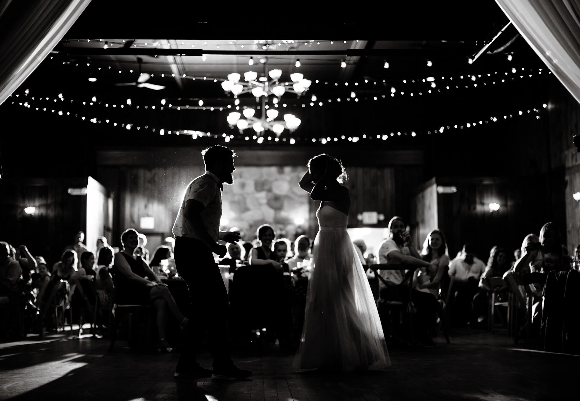 The Bride and Groom share their first dance during their Mount Hope Farm Wedding in Bristol, RI