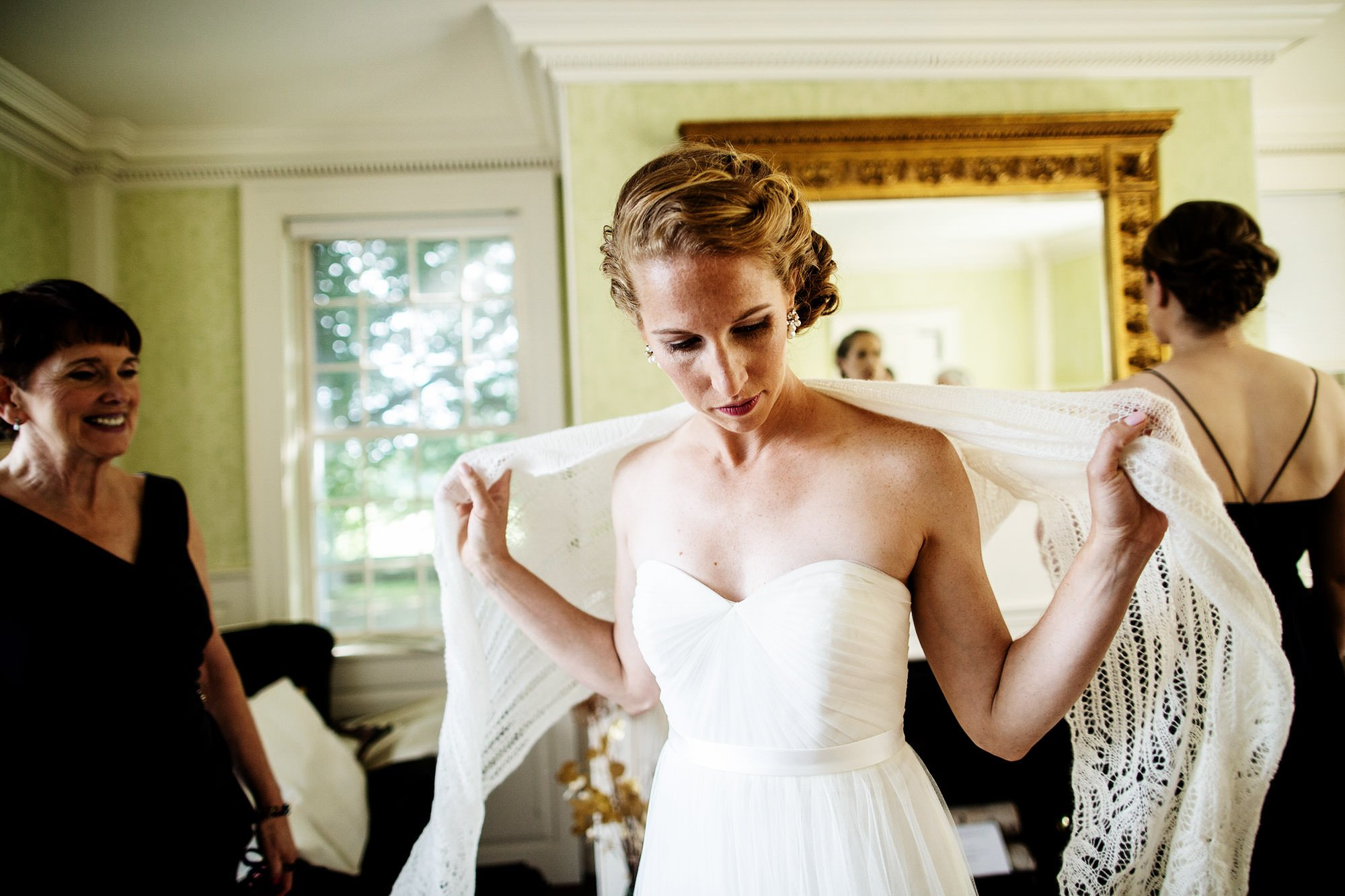 Bride Getting Ready before ceremony of her Mount Hope Farm Wedding.