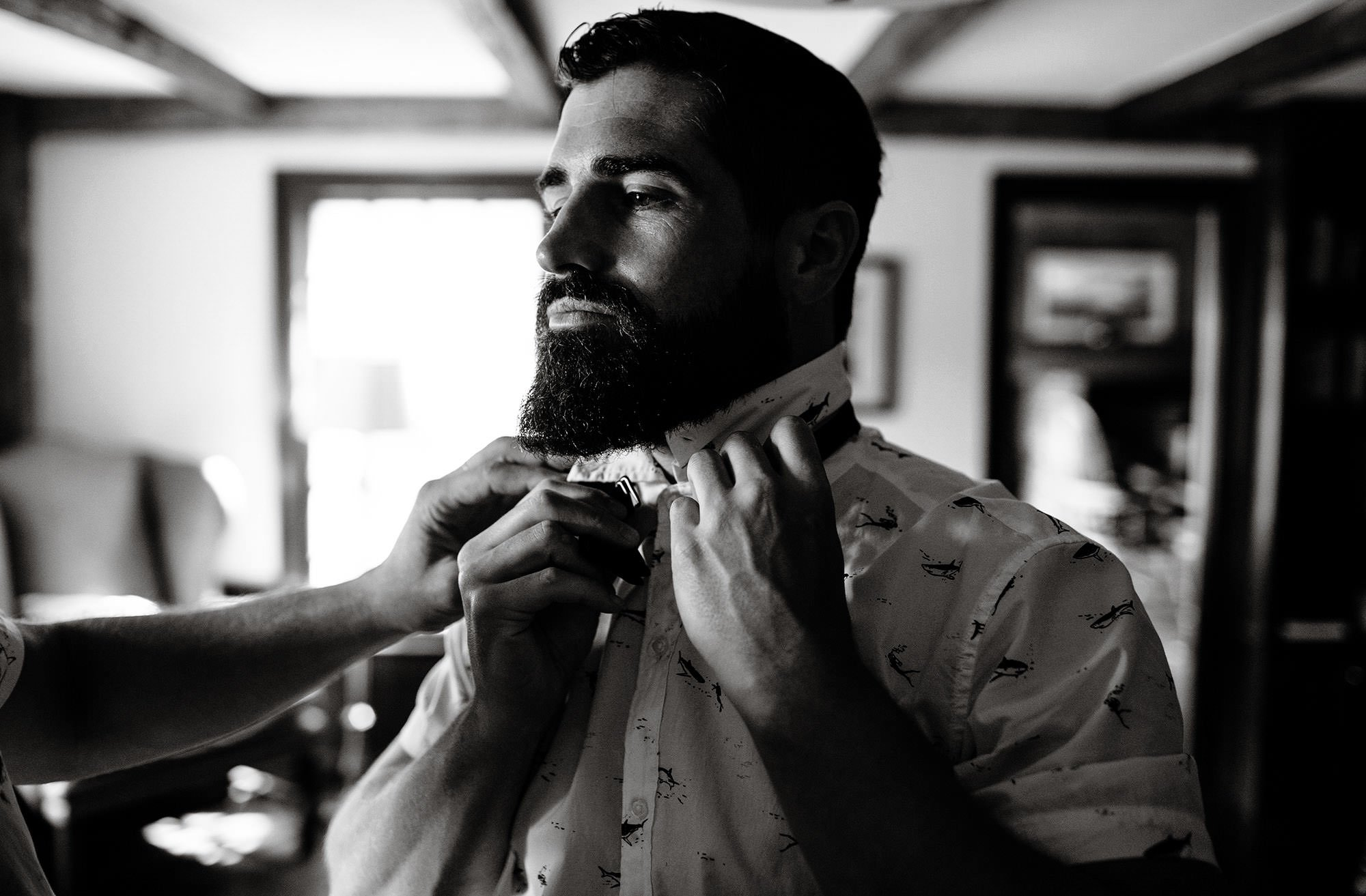 Groom Getting Ready before ceremony of his Mount Hope Farm Wedding.
