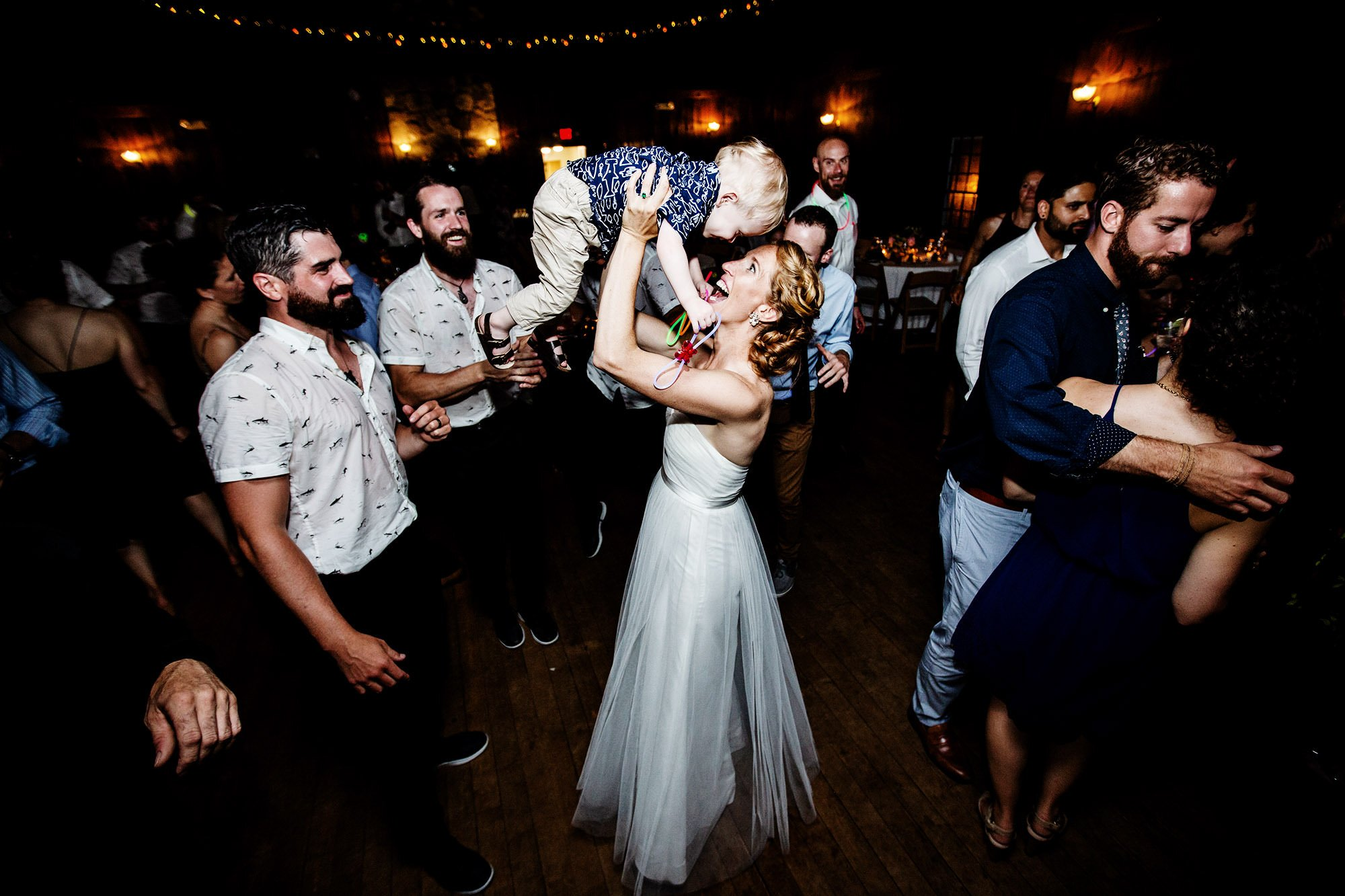 Guests dance during the reception at Mount Hope Farm.