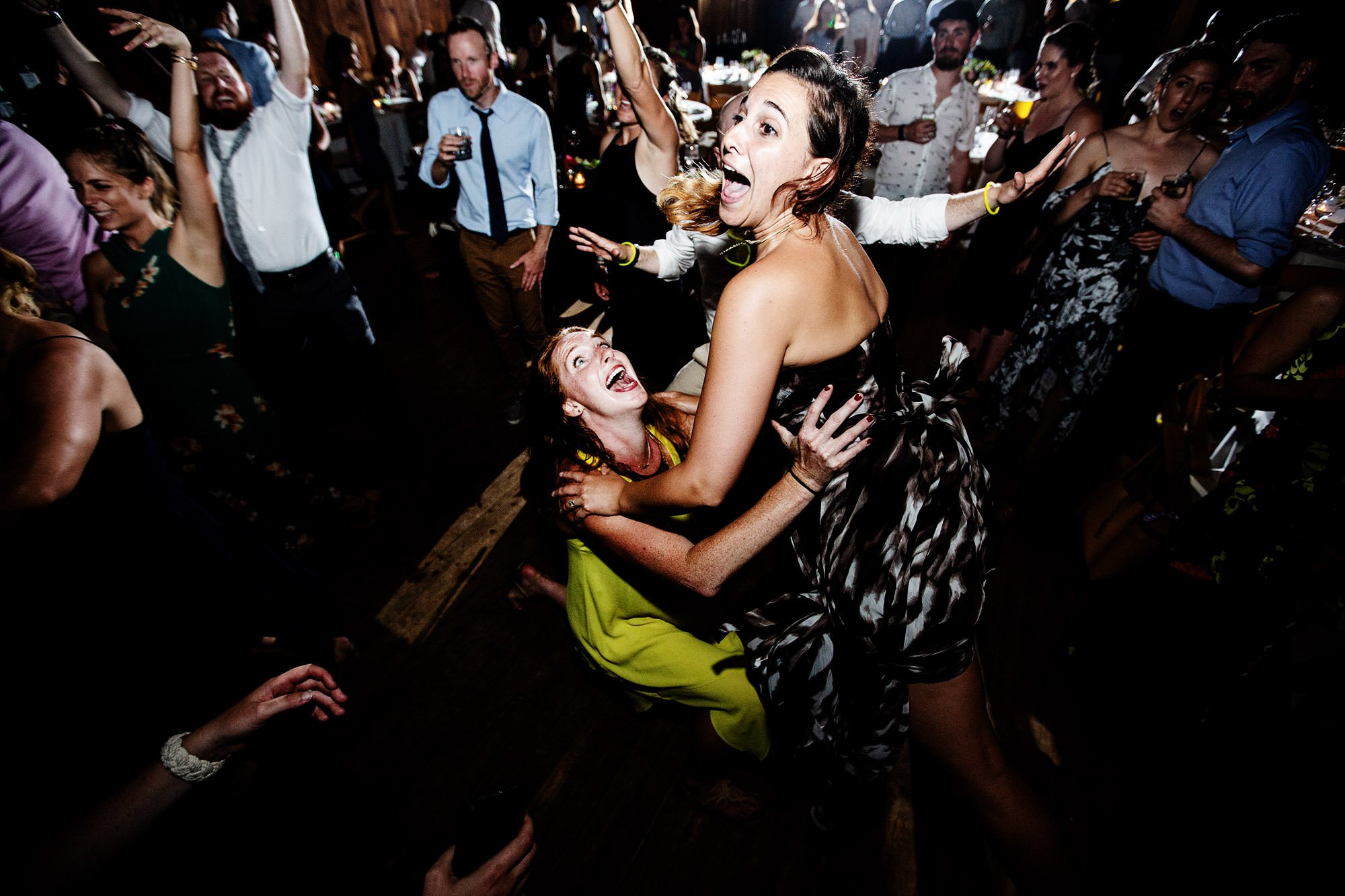 Guests dance during this Mount Hope Farm wedding.