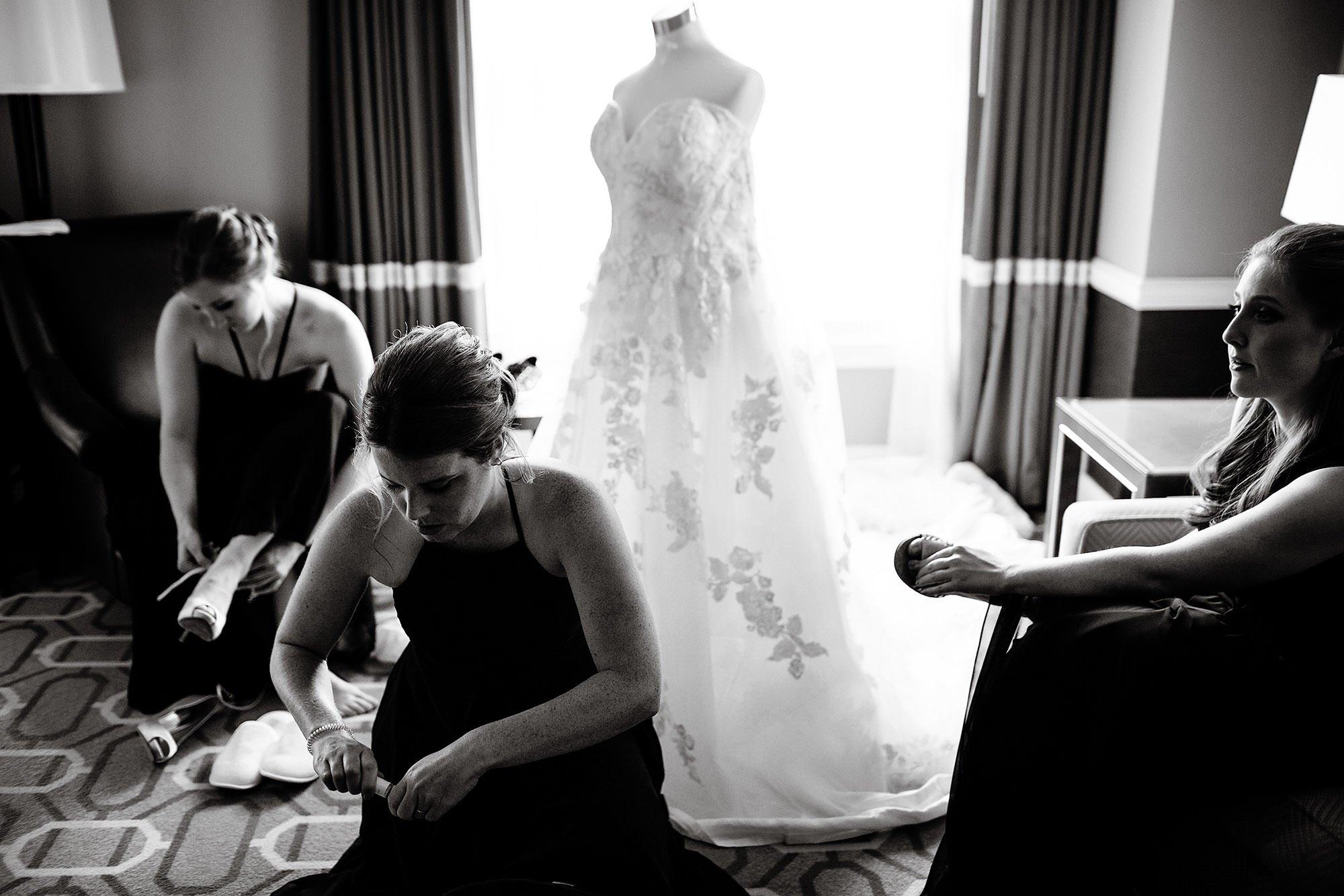 New England Aquarium Wedding  I  Bridesmaids prepare for the wedding ceremony.
