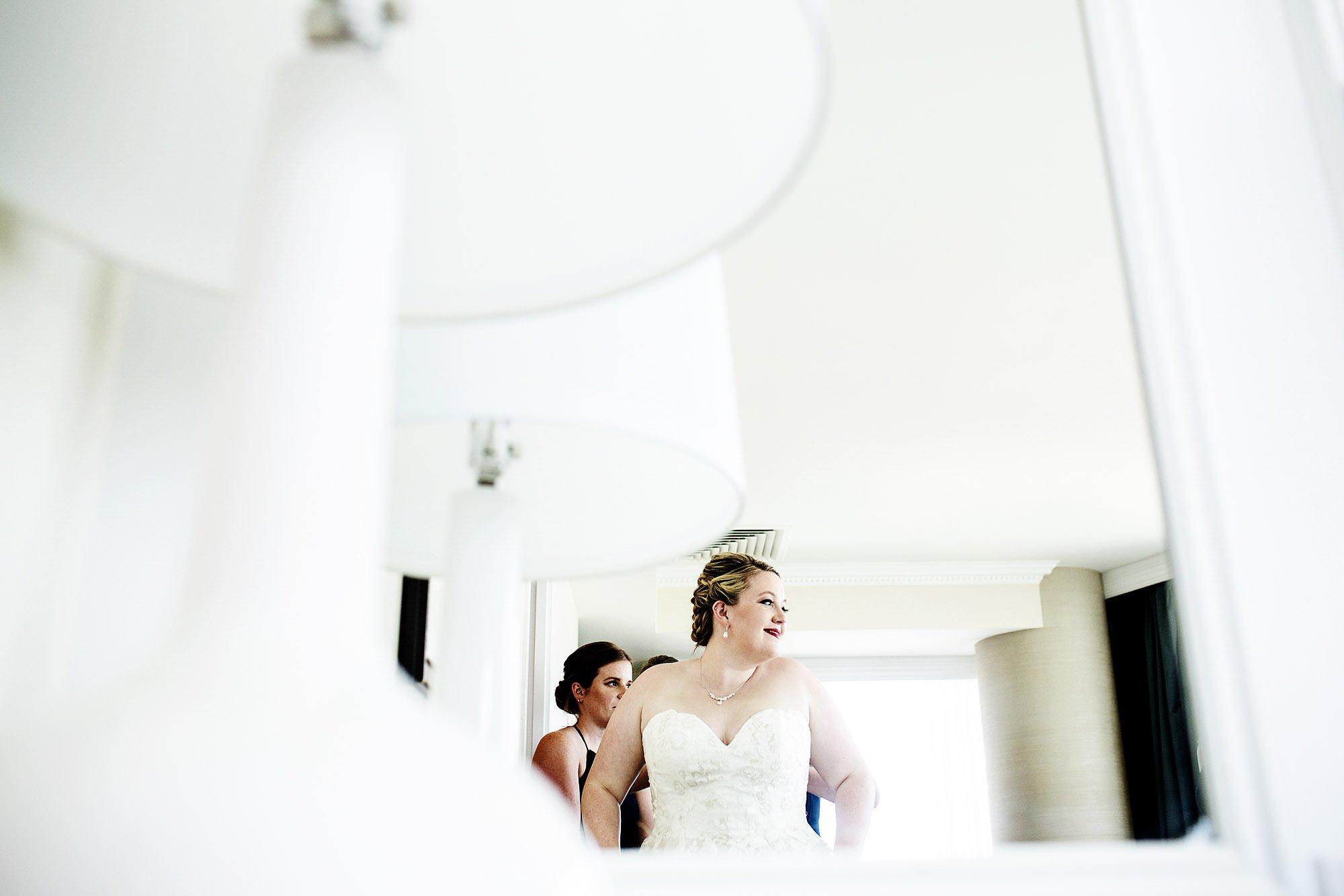 New England Aquarium Wedding  I  The bride gets ready before the ceremony.