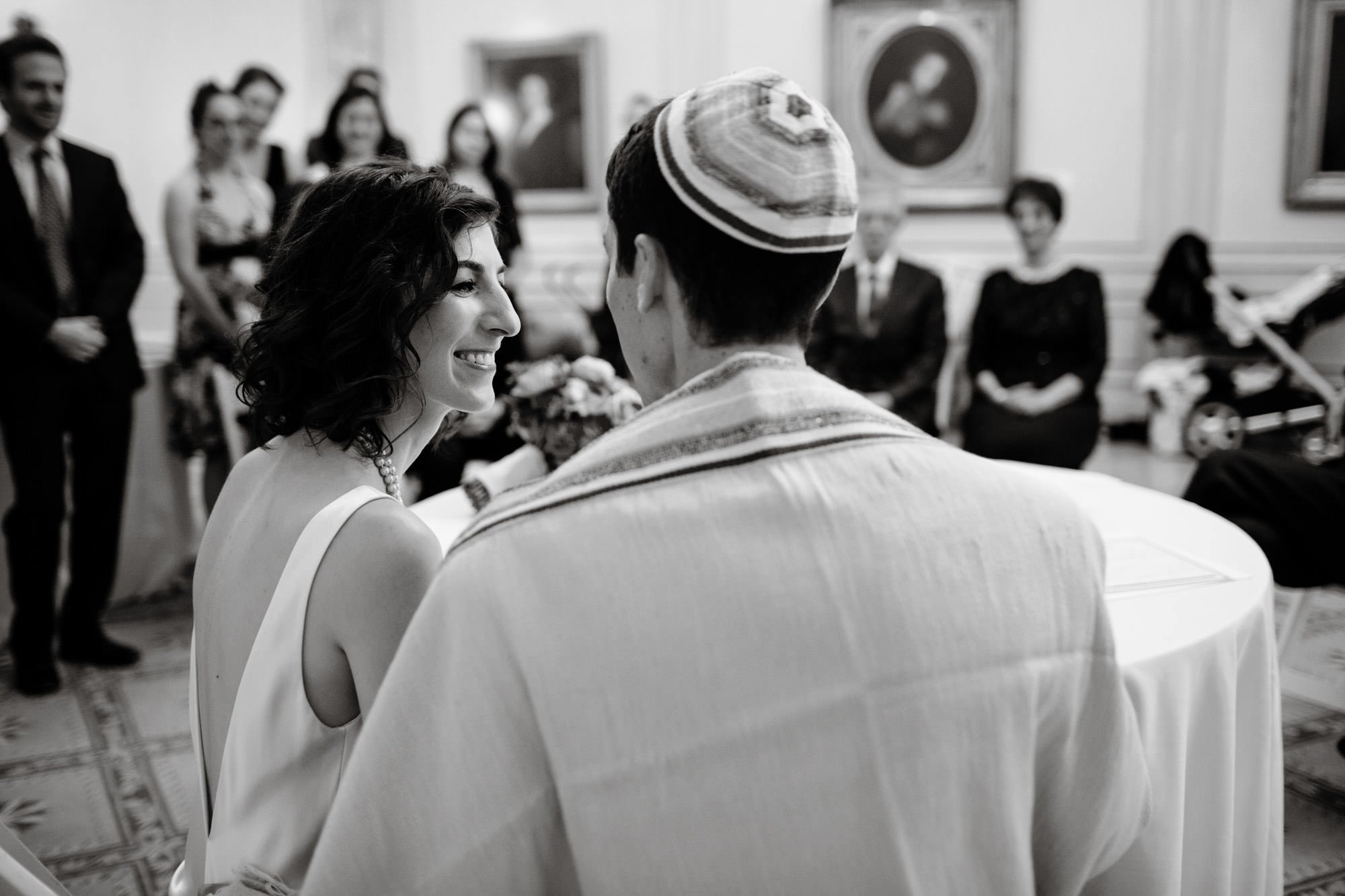 The bride and groom take part in a ketubah signing at NMWA.