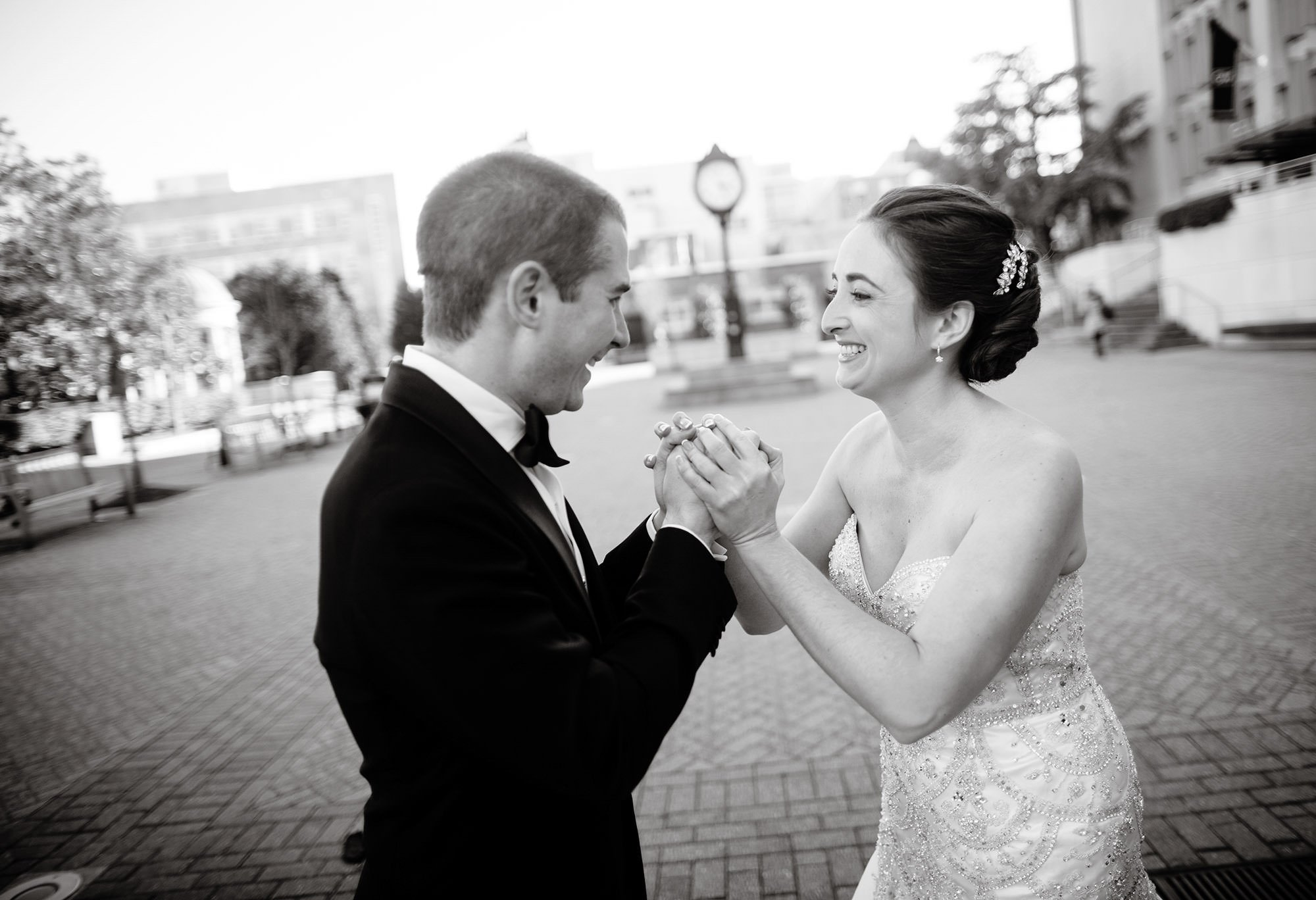The Bride and Groom share their first look at Kogan Plaza prior to their NMWA wedding.