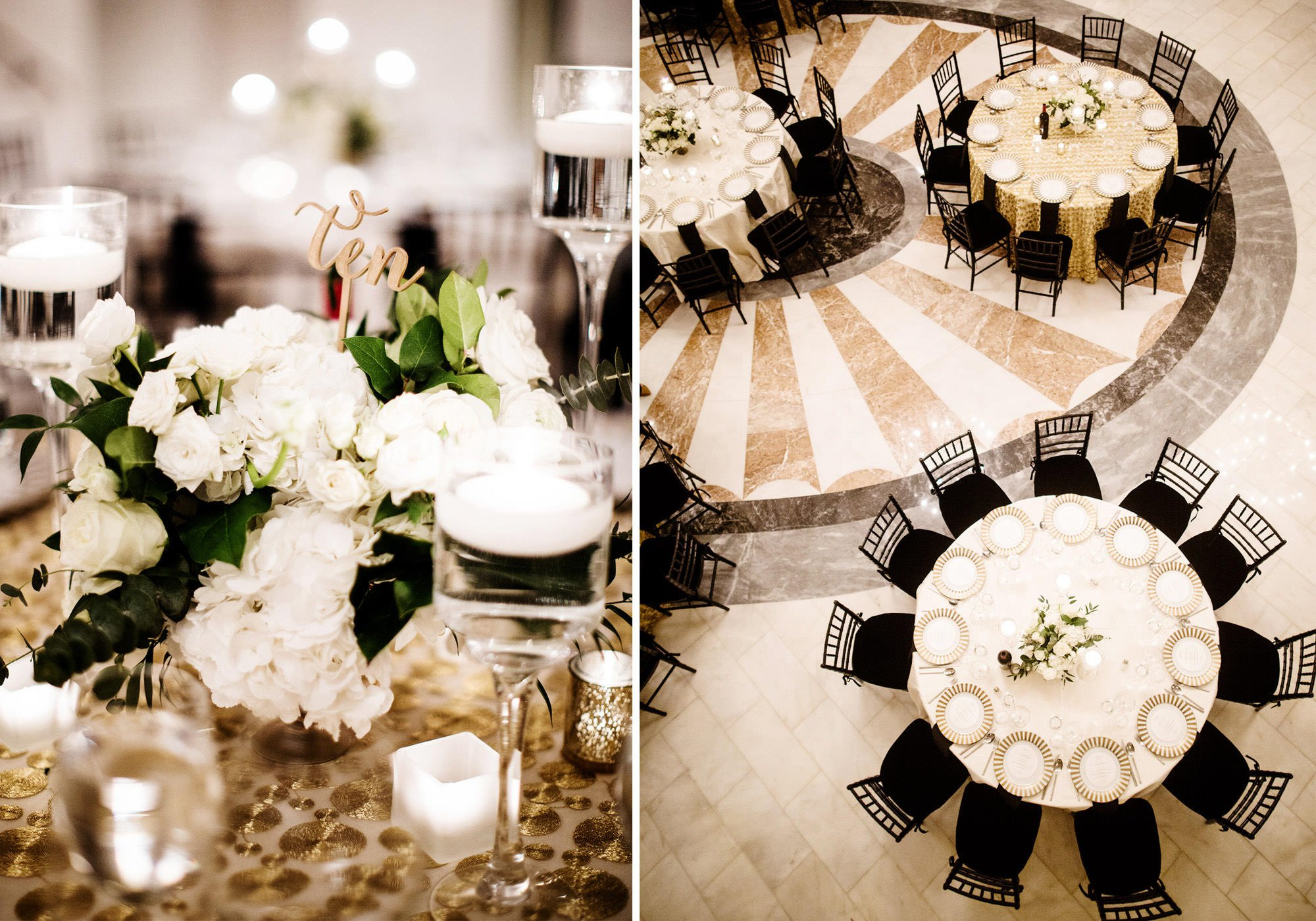 Florals and Table Settings at this NMWA wedding.