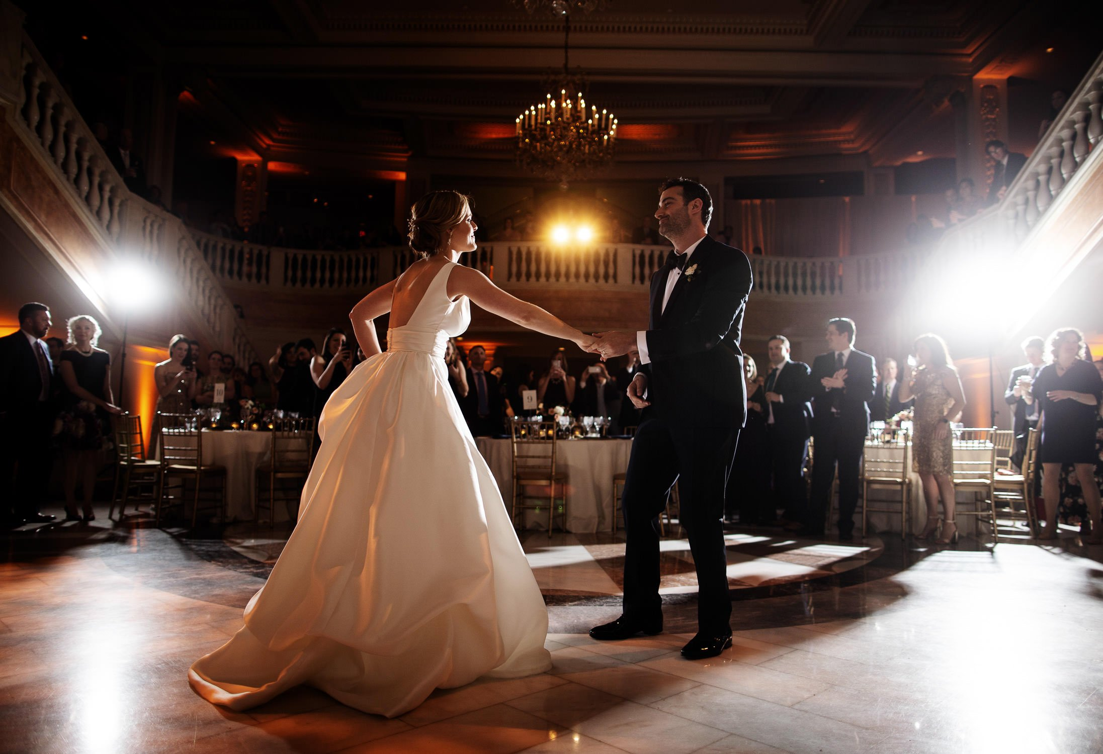 The bride and groom share their first dance at NMWA in Washington, DC.