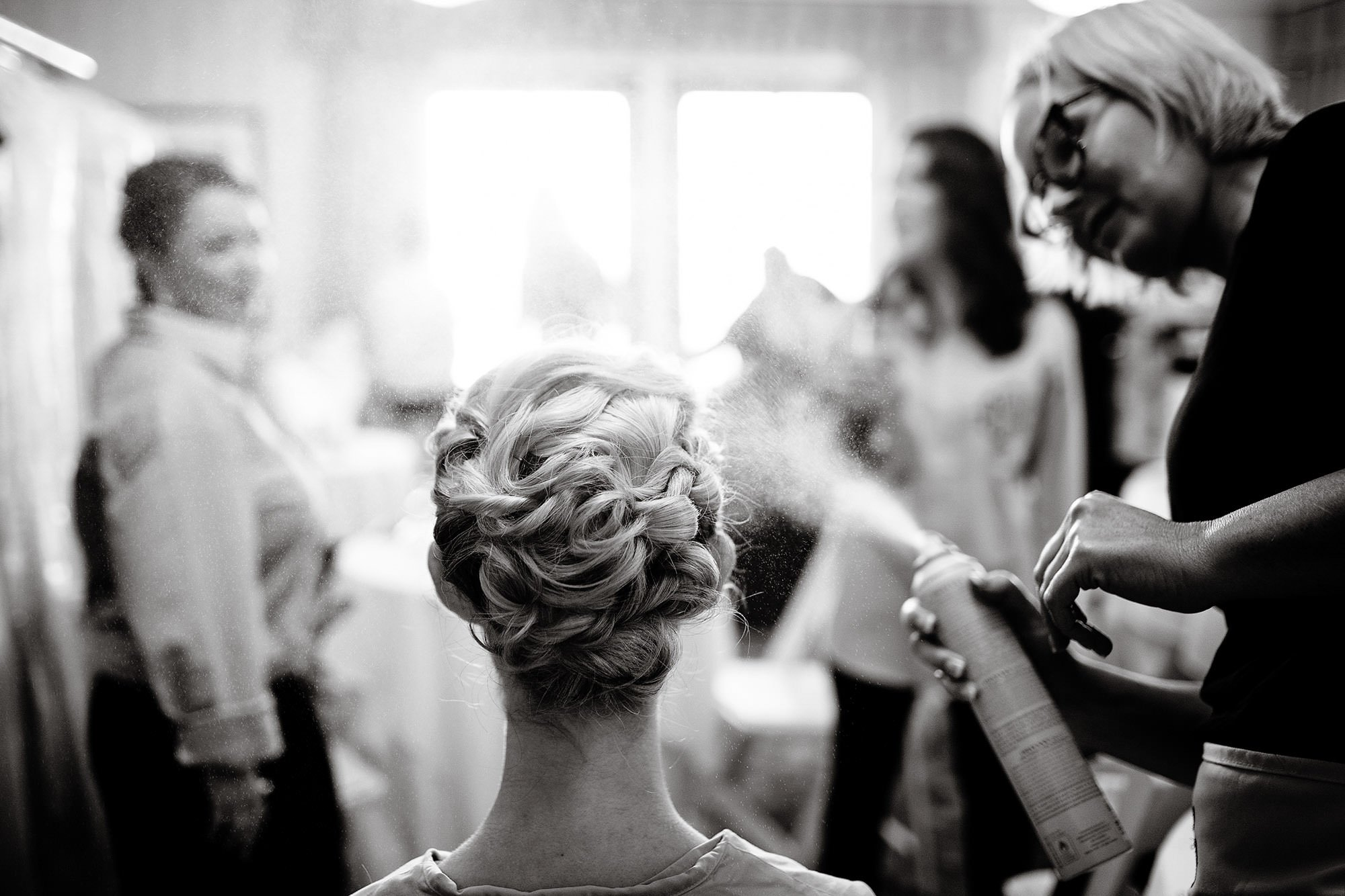 Ocean Edge Resort, Cape Cod Wedding in Brewster, MA  I   Bridesmaids apply hairspray as they are getting ready.