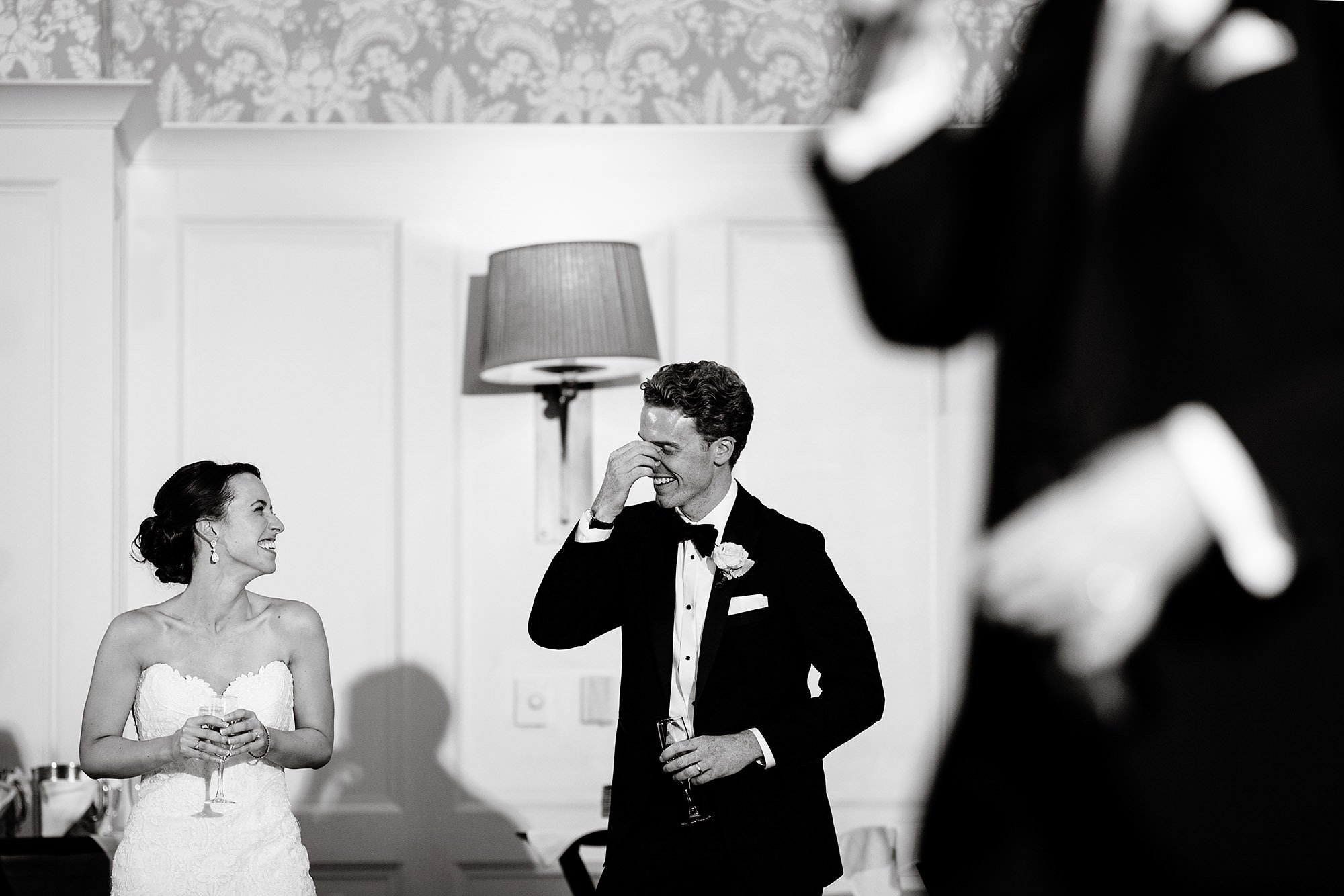 The bride and groom respond to the best man toast.