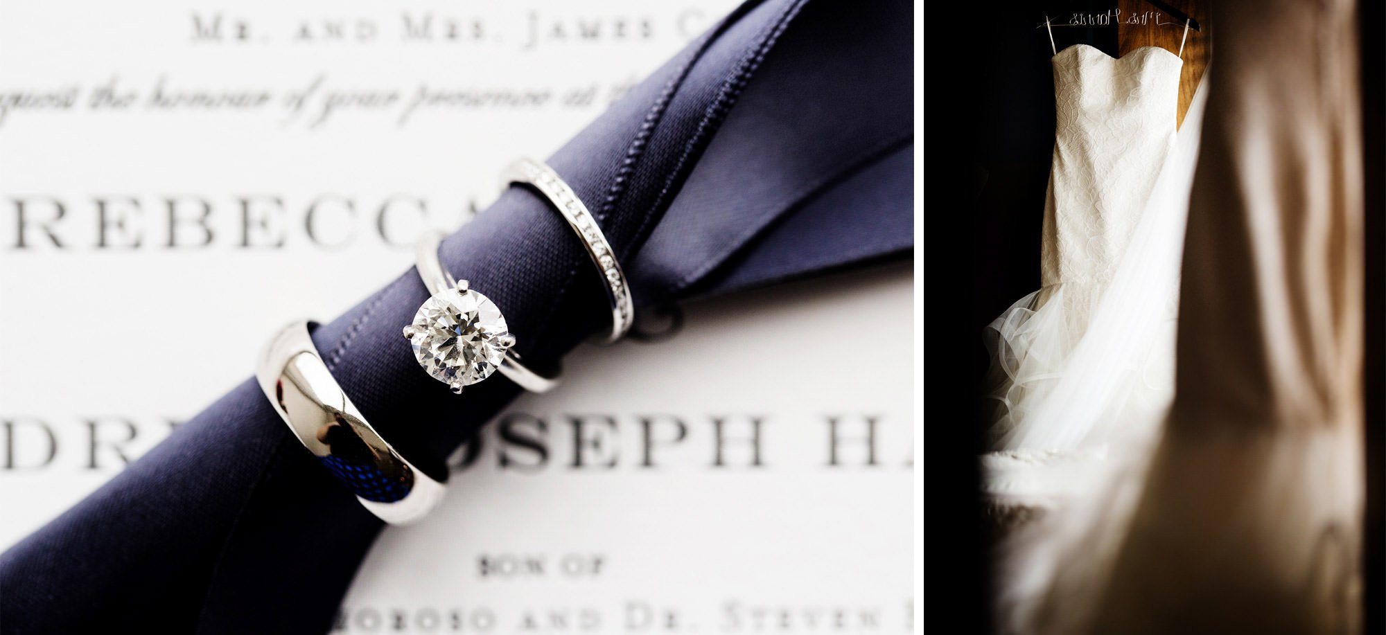 Details of the bride's wedding dress and engagement ring.