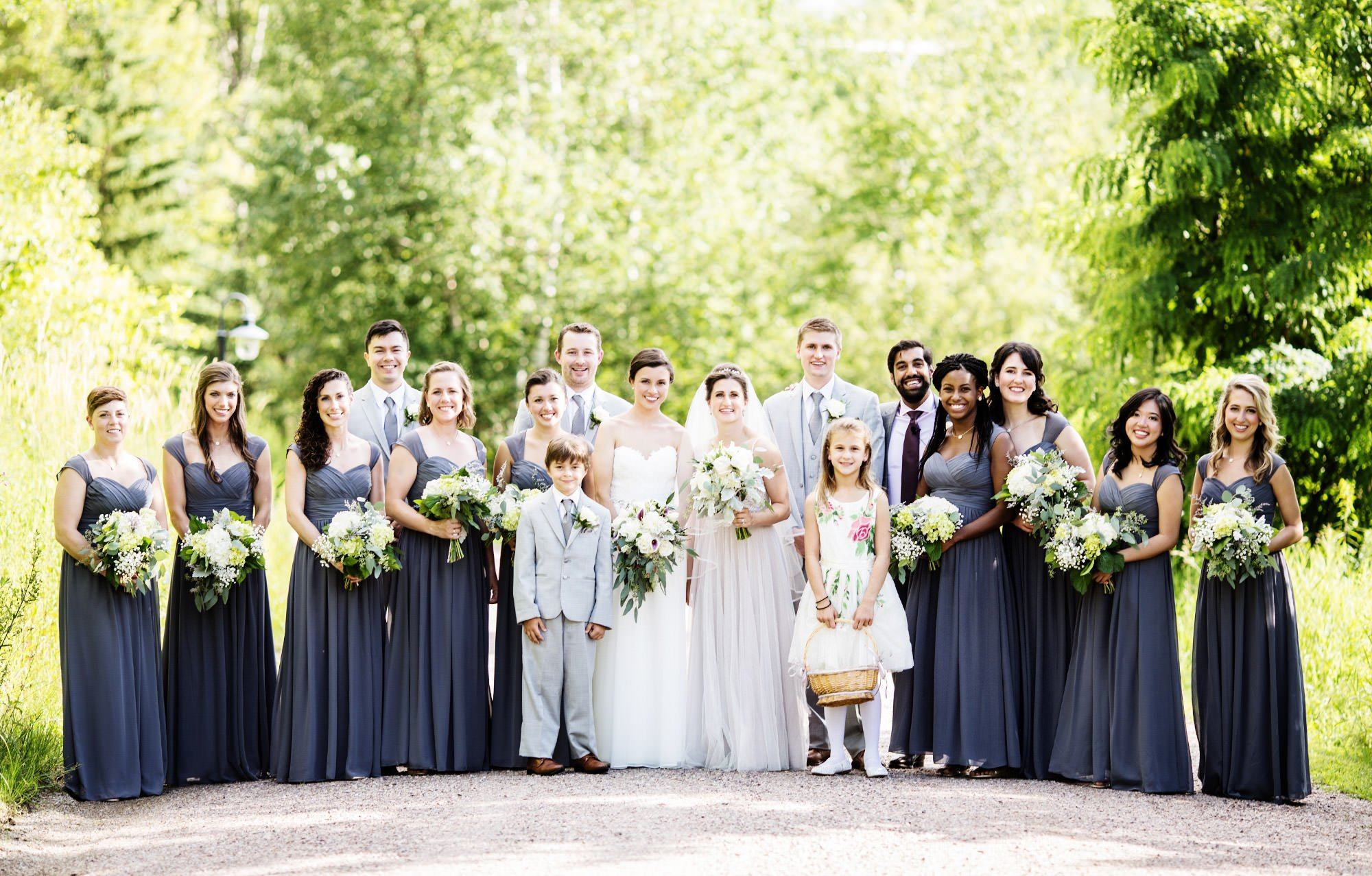A portrait of the wedding party.