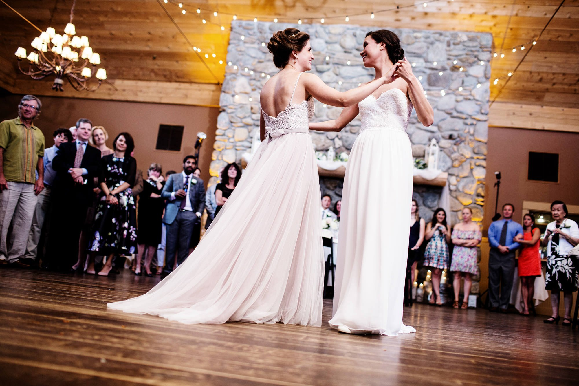 The brides enjoy their first dance during the reception at The Ponds at Bolton Valley.