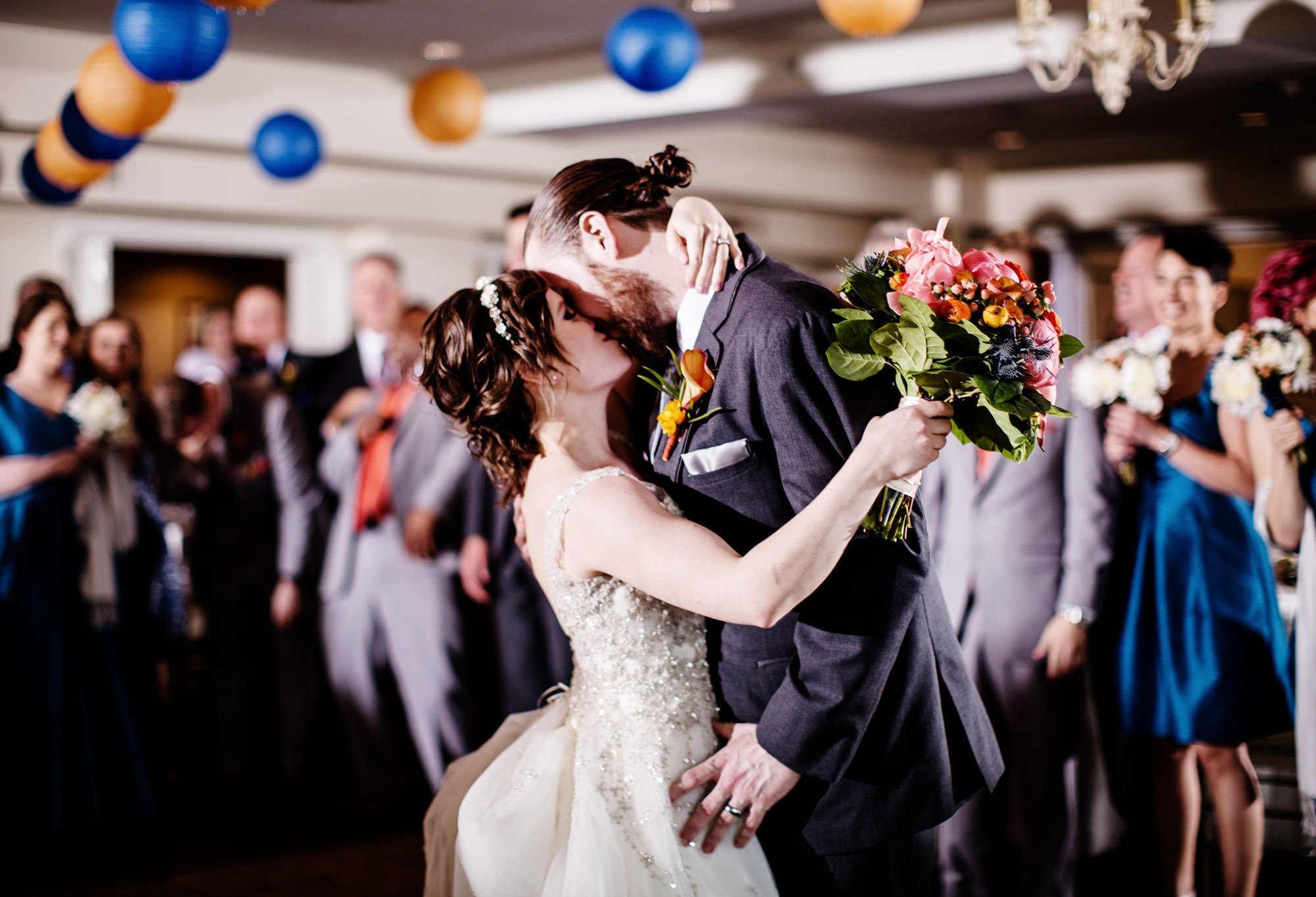 The bride and groom share their first dance at The Oaks Waterfront Inn and Events Wedding, Royal Oak, MD